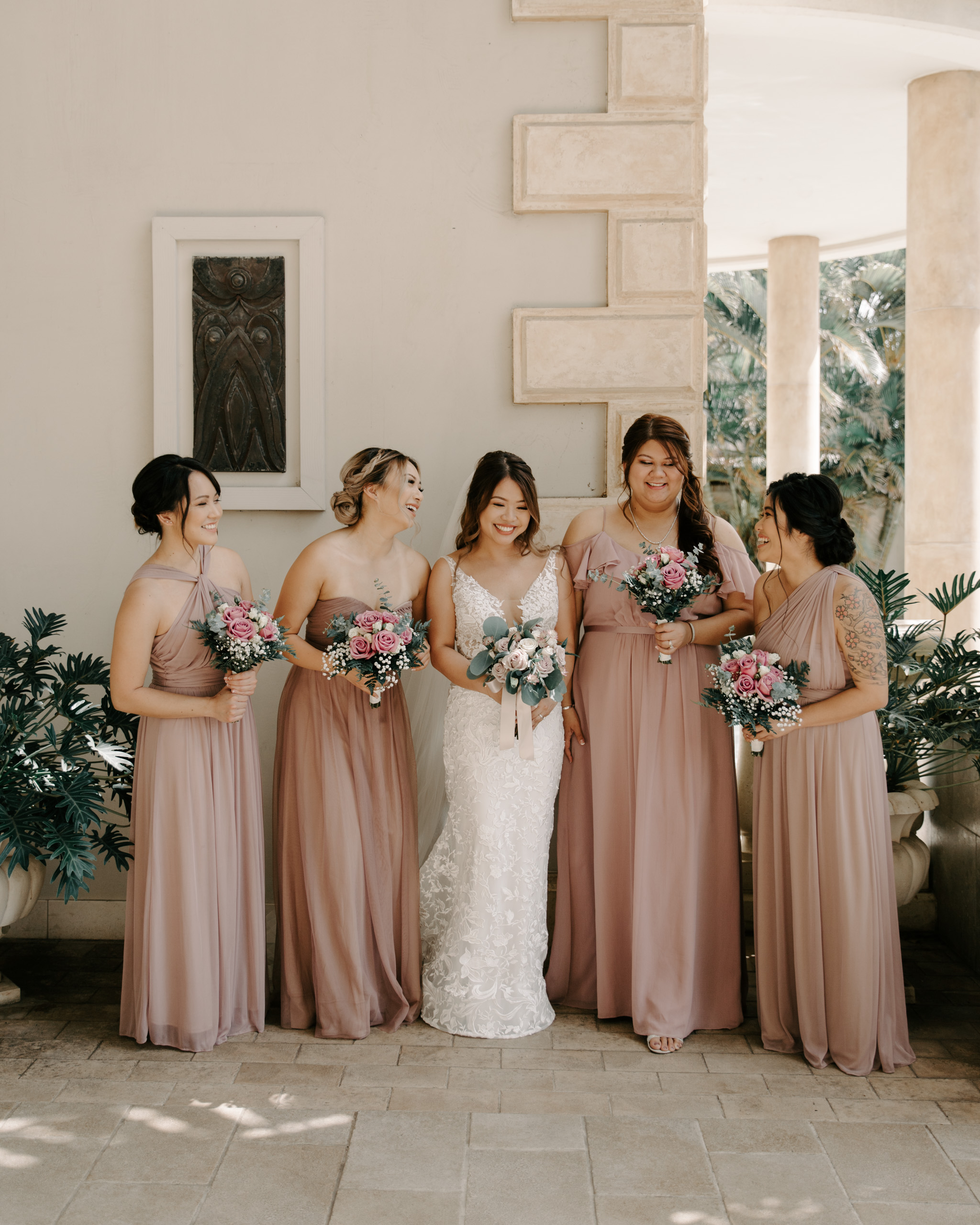 Blush Bridesmaid Dresses - 53 By The Sea Hawaii Wedding By Oahu Wedding Photographer Desiree Leilani