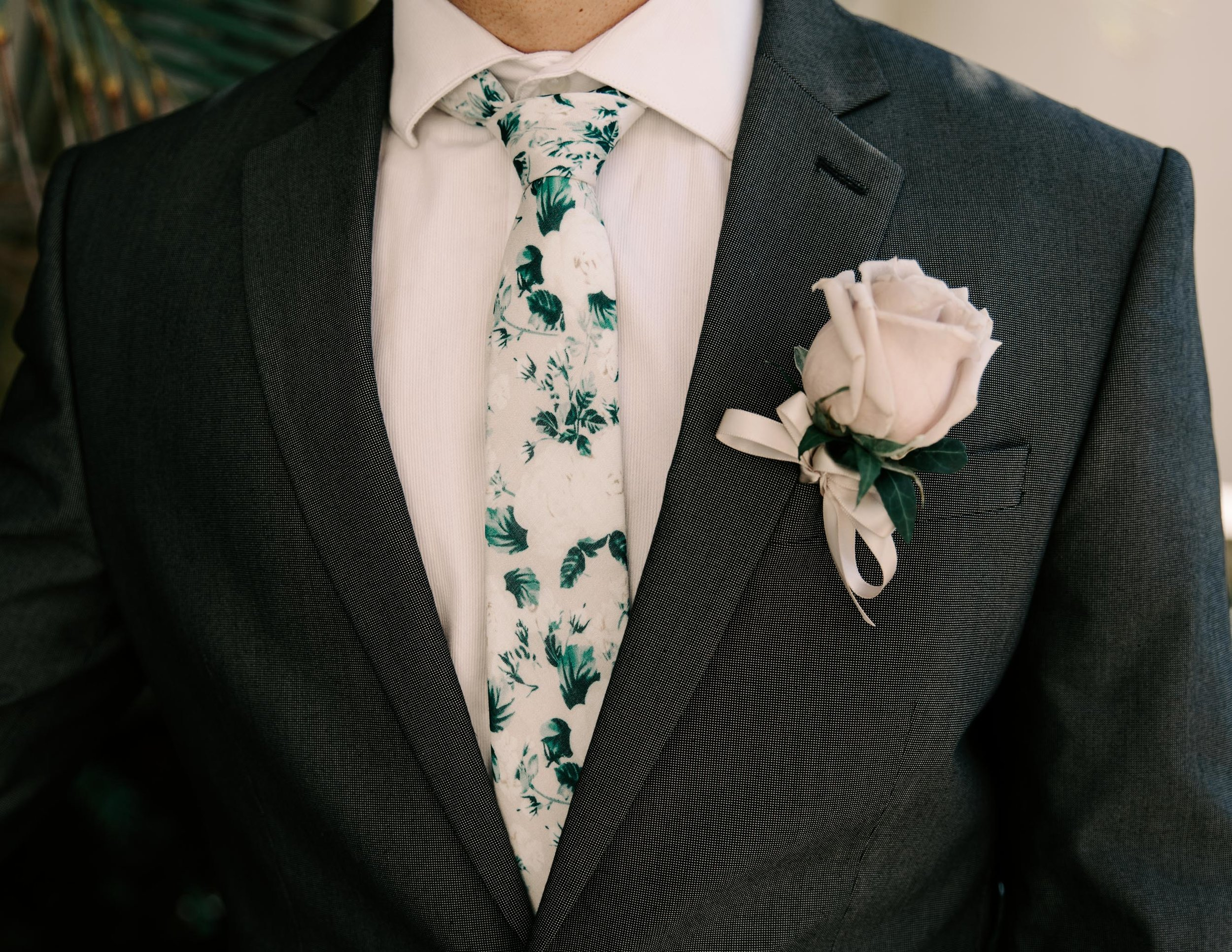 White and green floral groom's tie - 53 By The Sea Hawaii Wedding By Oahu Wedding Photographer Desiree Leilani