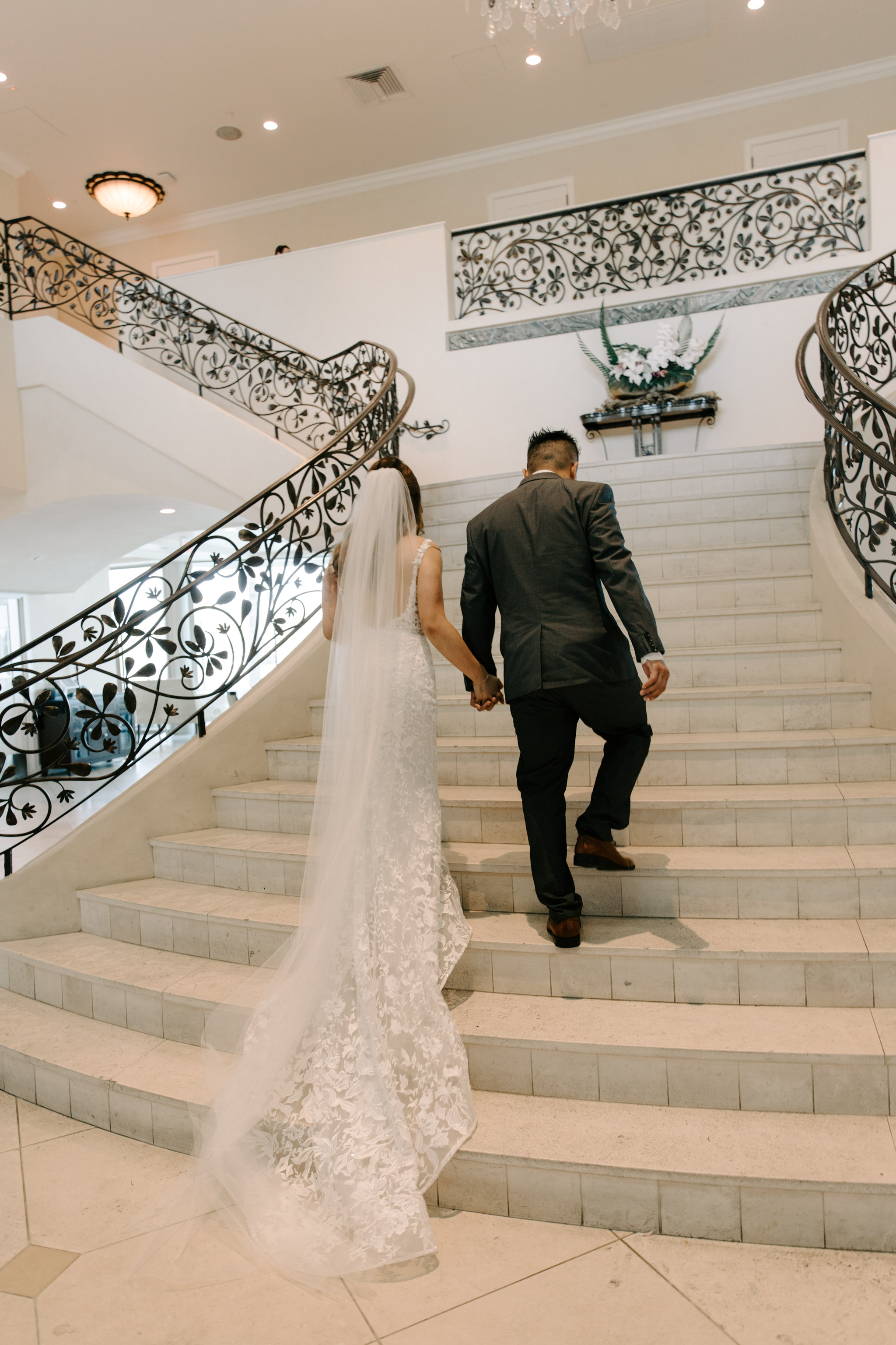 Grand Staircase Wedding Photo -  53 By The Sea Hawaii Wedding By Oahu Wedding Photographer Desiree Leilani