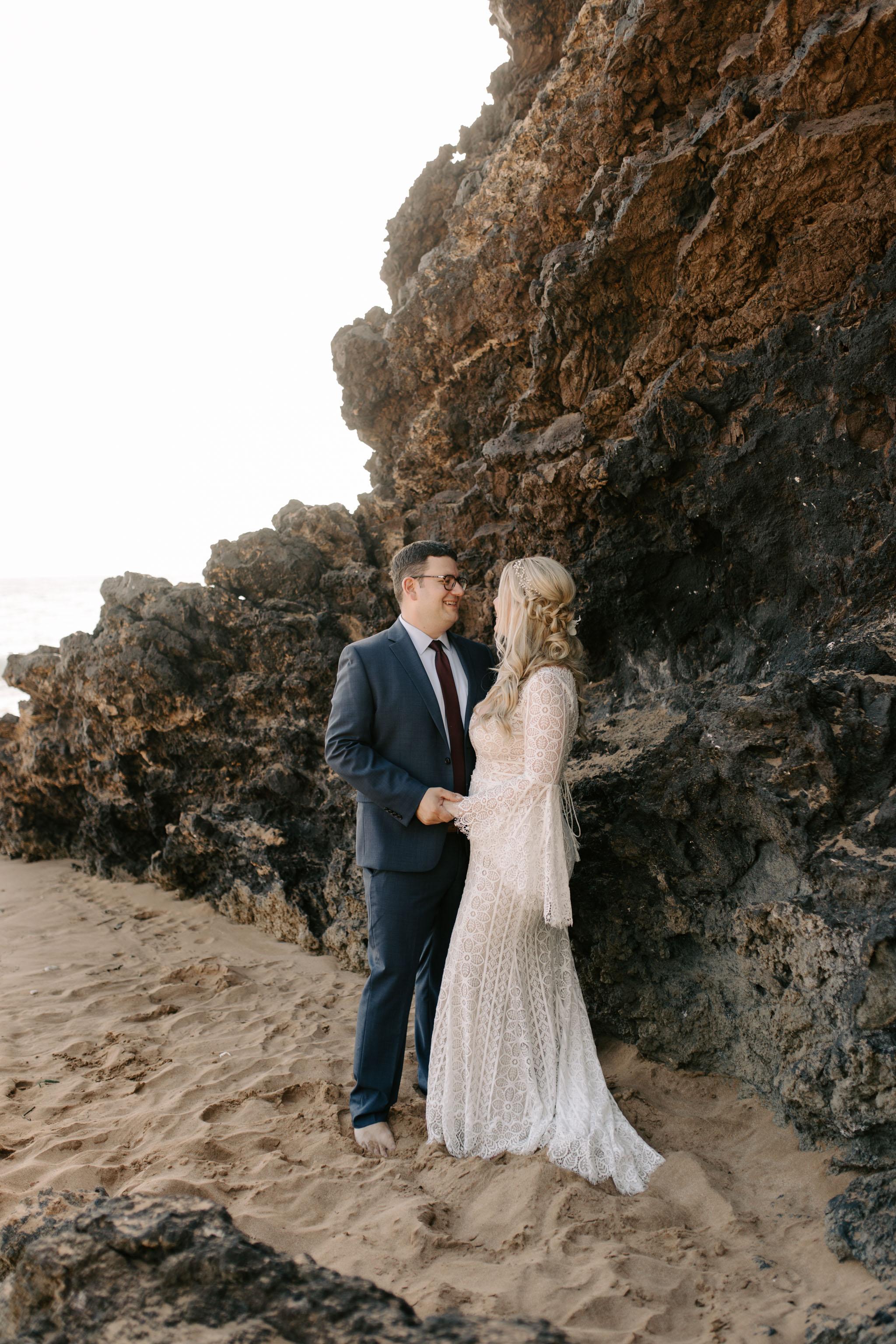 BHLDN Long Sleeve Wedding Dress - Andaz Maui and Puulenalena Beach Vow Renewal By Hawaii Wedding Photographer Desiree Leilani