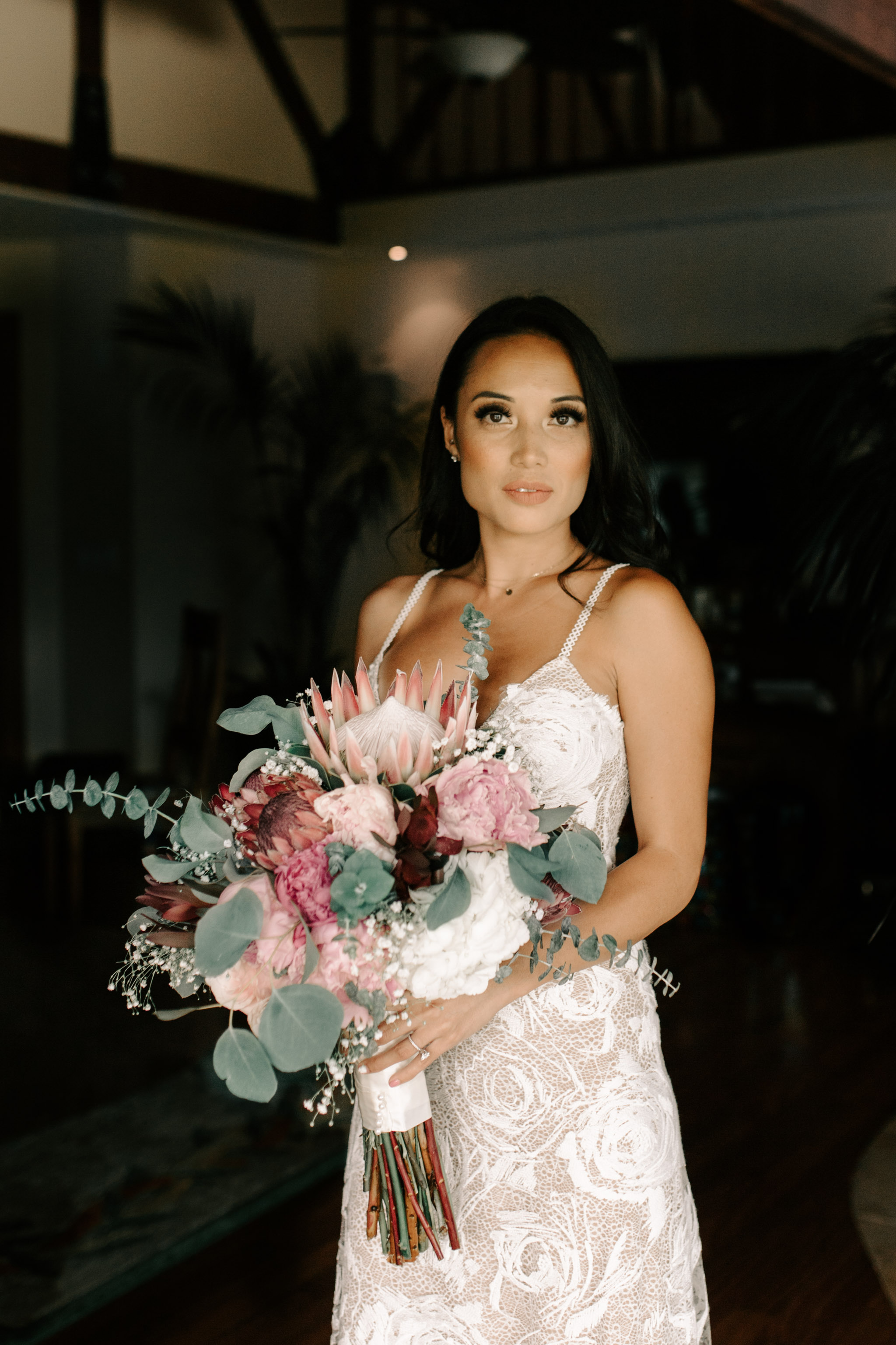 Gorgeous Bridal Portrait In Grace Loves Lace's Rosa Wedding Gown - Hale Koa Phineas Estate Wedding By Oahu Wedding Photographer Desiree Leilani