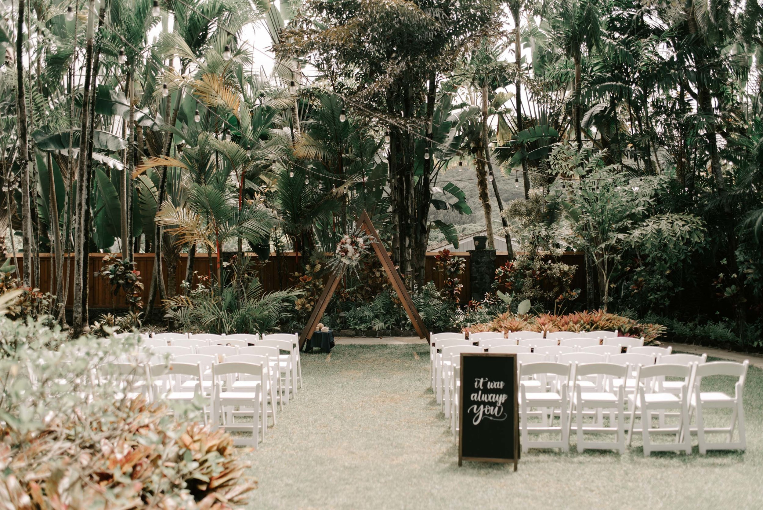 Wooden Triangle Wedding Ceremony Arch Idea Hale Koa Phineas Estate Wedding By Oahu Wedding Photographer Desiree Leilani