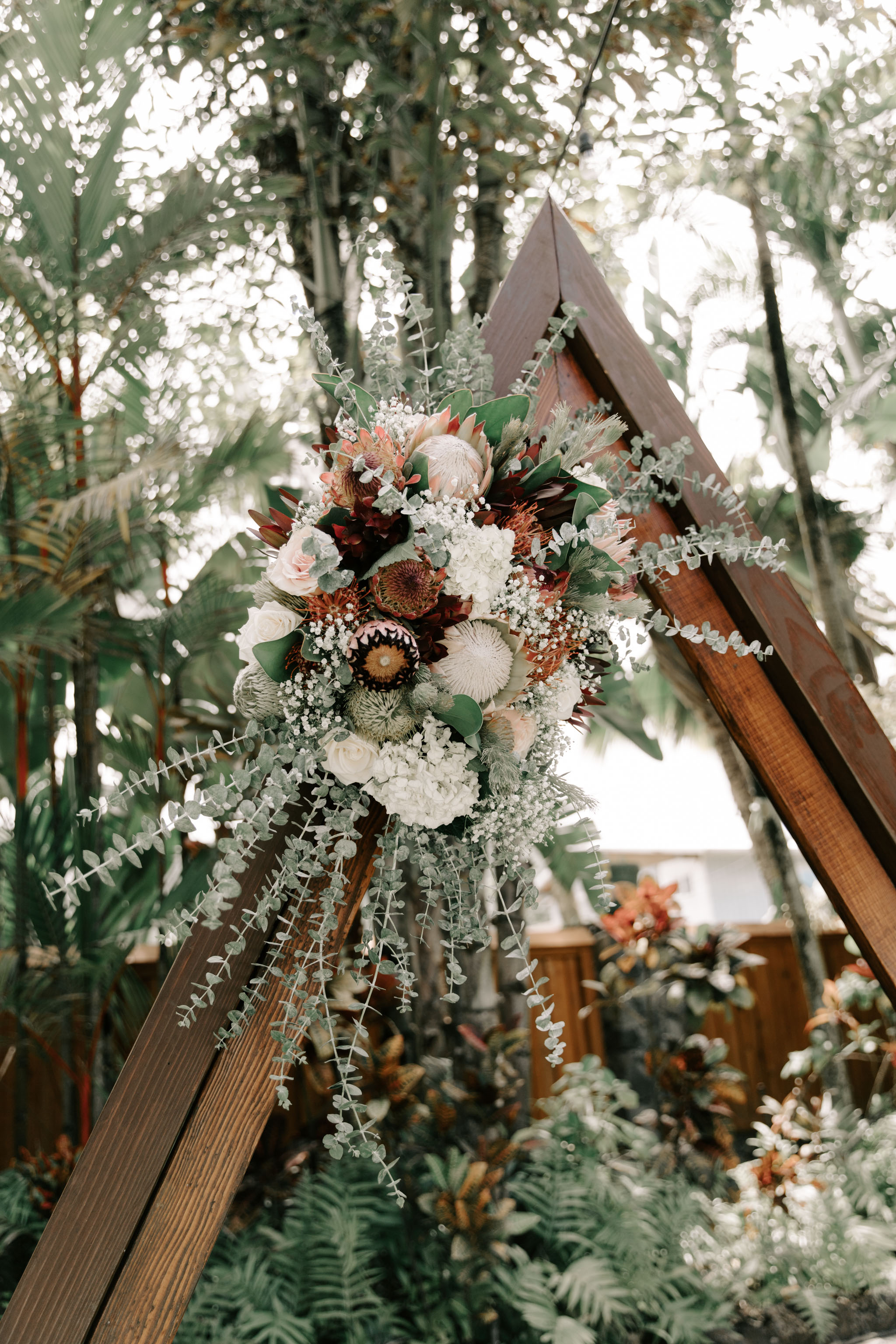 Tropical Protea Wedding Arch Florals - Hale Koa Phineas Estate Wedding By Oahu Wedding Photographer Desiree Leilani