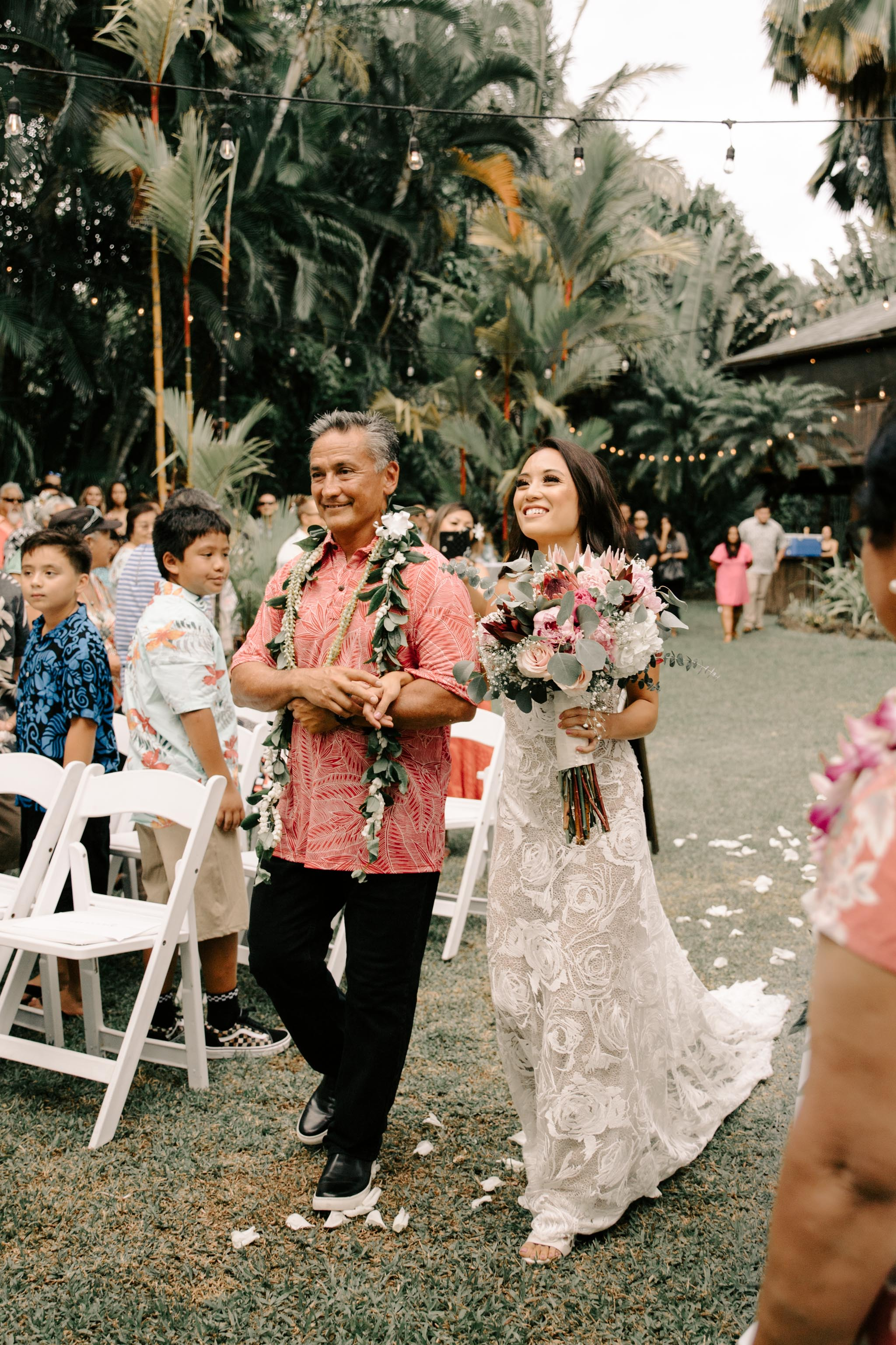 Father walking his daughter down the aisle - Hale Koa Phineas Estate Wedding By Oahu Wedding Photographer Desiree Leilani