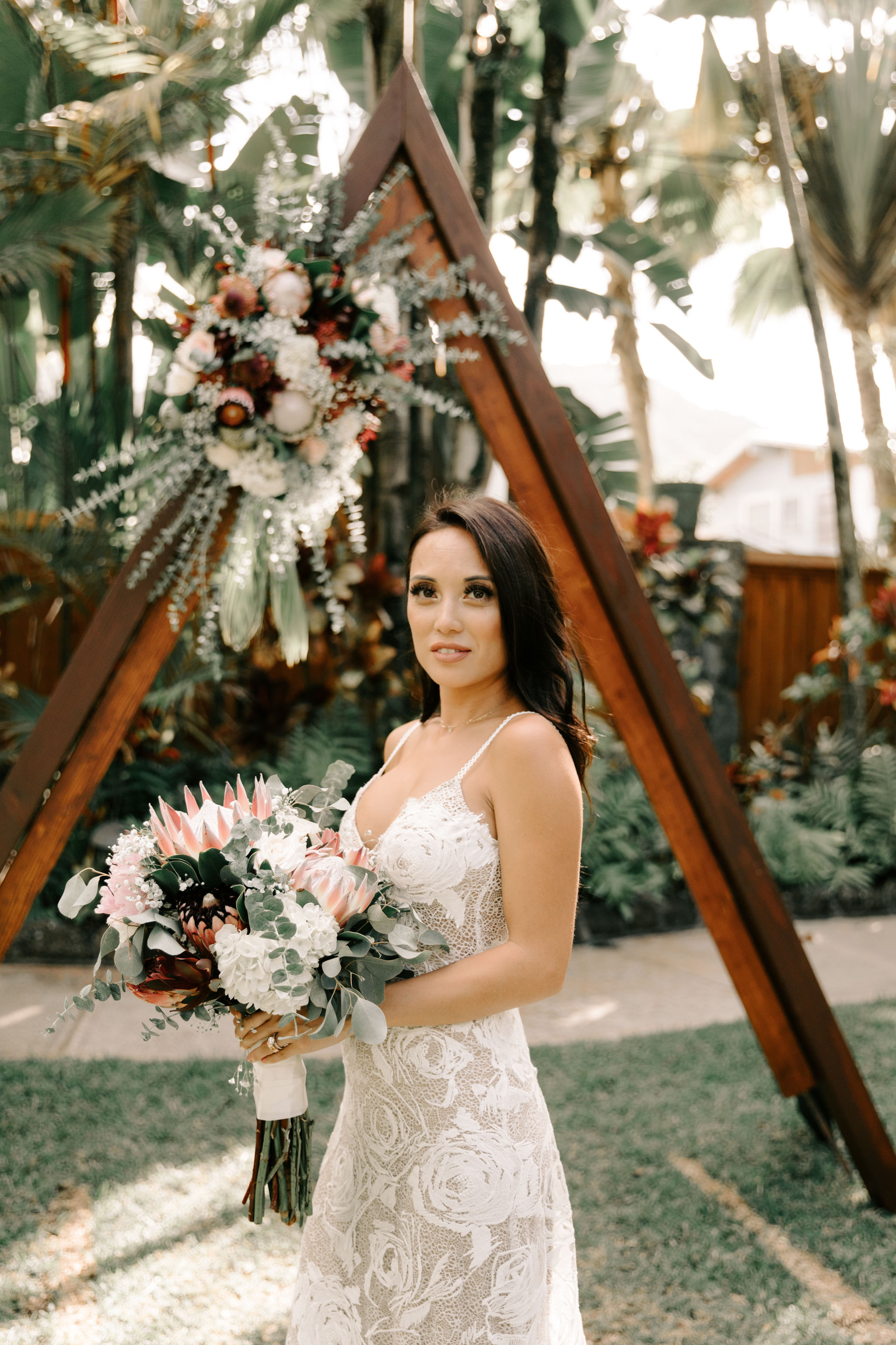 Grace Loves Lace Rosa Wedding Gown with Protea Wedding Bouquet - Hale Koa Phineas Estate Wedding By Hawaii Wedding Photographer Desiree Leilani