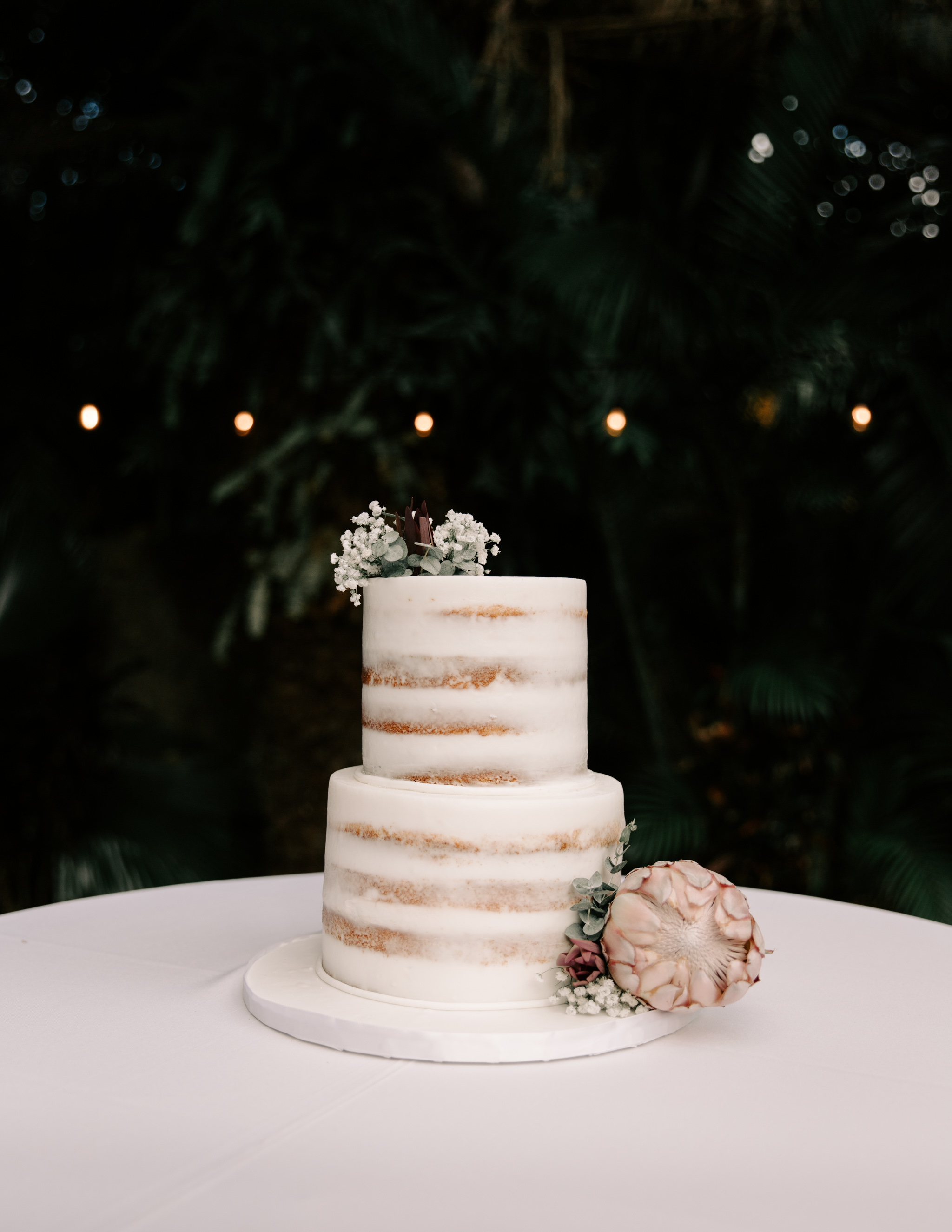 Simple Wedding Cake with Protea Flowers - Hale Koa Phineas Estate Wedding By Oahu Wedding Photographer Desiree Leilani