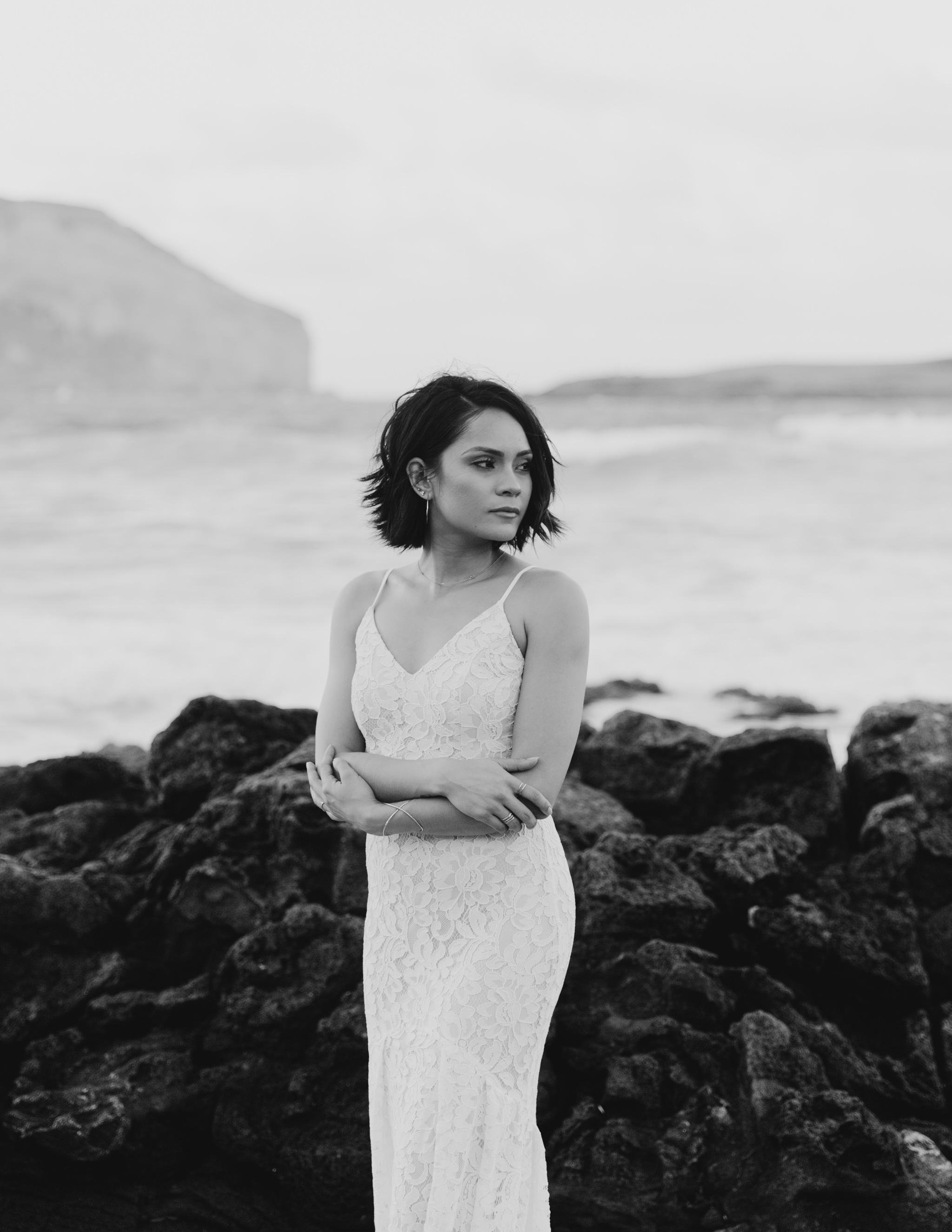 makapuu bridal portraits by hawaii wedding photographer Desiree Leilani
