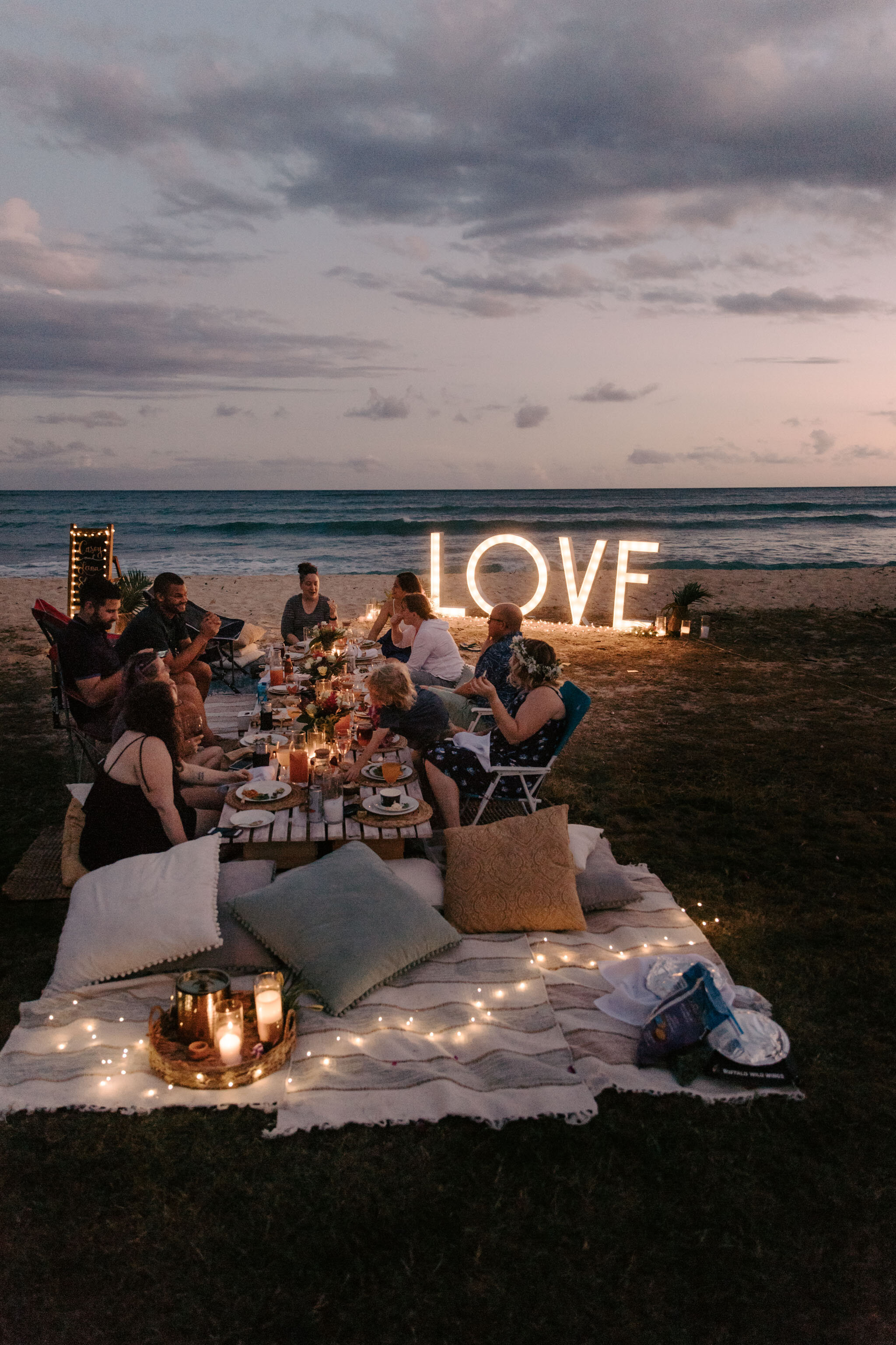 Love wedding sign at night picnic - Aloha Picnics Puuloa Beach Park Hawaii Vow Renewal By Oahu Wedding Photographer Desiree Leilani