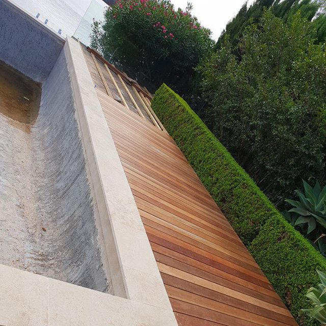 The BoxBL boys are doing a great job on the deck at our Point Frederick project 👌 . . . #poolsurround #poolsurrounds #spottedgum #deck #landscaping #centralcoast