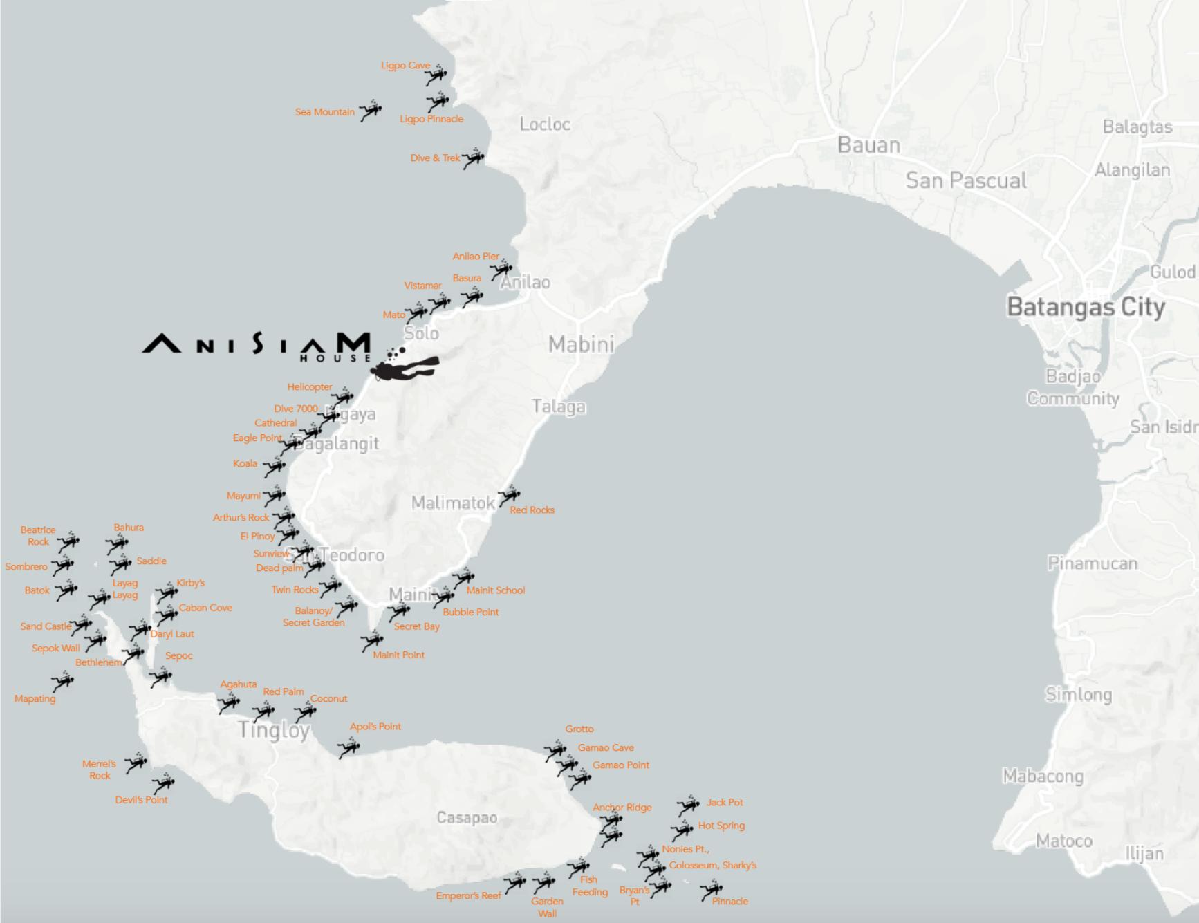 Anisiam House location & Dive-sites