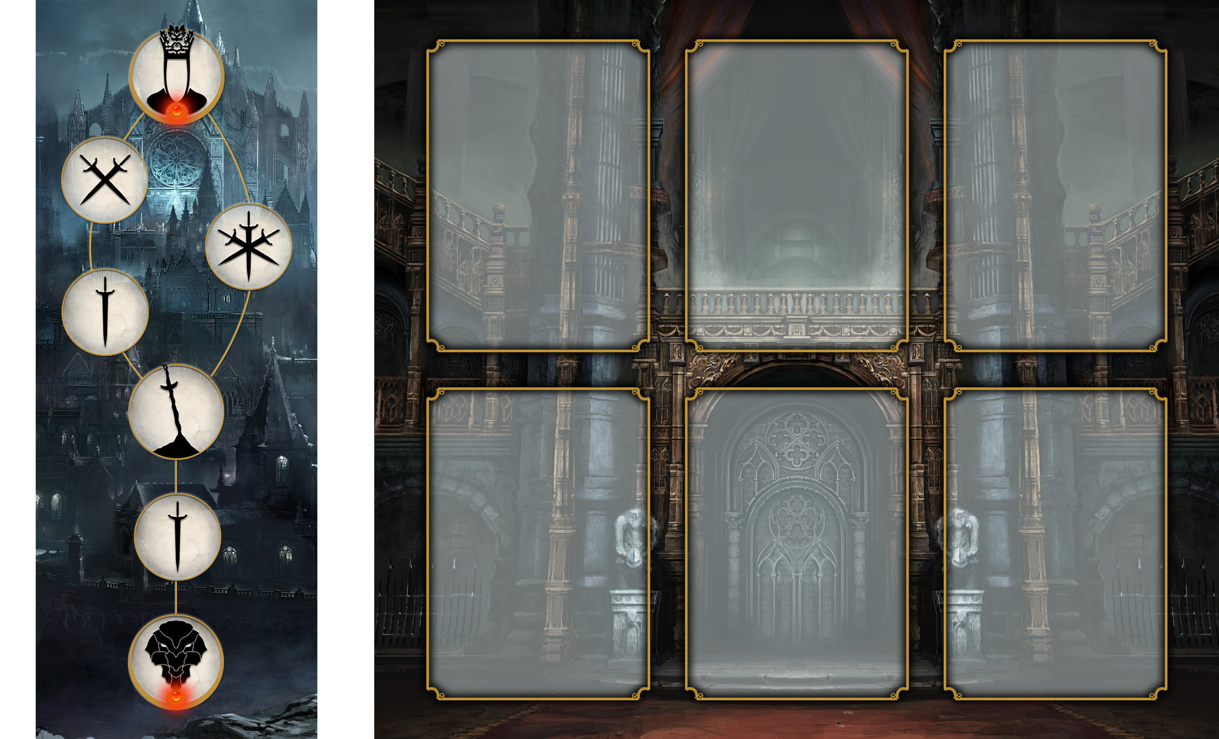 The Player Character Battle Board [Right] will determine the attacks you can make. Whilst the Encounter Map [Left] will determine the difficulty of your battle.