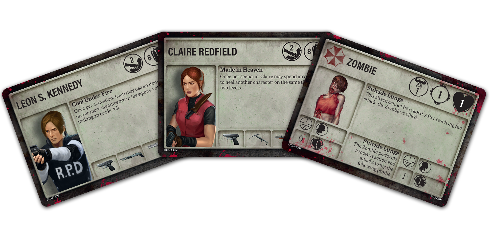 Leon & Claire Player Character Cards [left] and a Zombie Enemy Card [right]