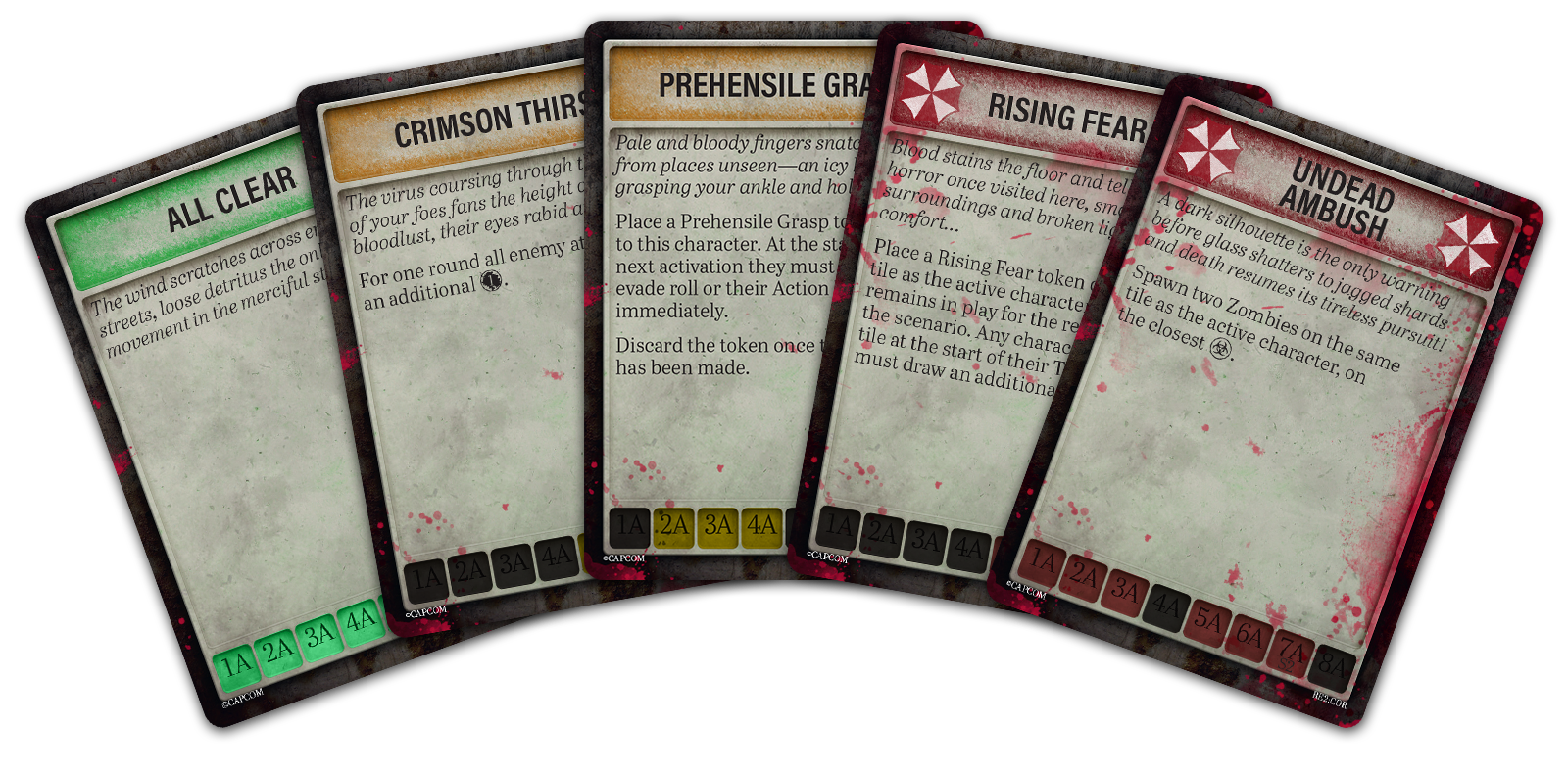 At the end of every player turn you will draw from the Tension Deck revealing a new event that you will have to react to. Sometimes you'll be all clear and can carry on as normal, others you'll have to prepare to fight or flee from an unforeseen foe!