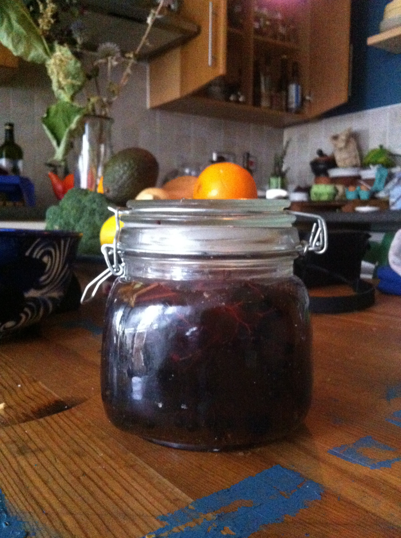 Elderberries, blackberries topped up with apple cider vinegar. I will let you know how this one turns out.