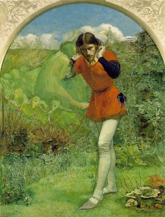 heaveninawildflower :     Ferdinand Lured by Ariel ( 1850). Oil on canvas by John Everett Millais (1829 - 1896).   Wikimedia.