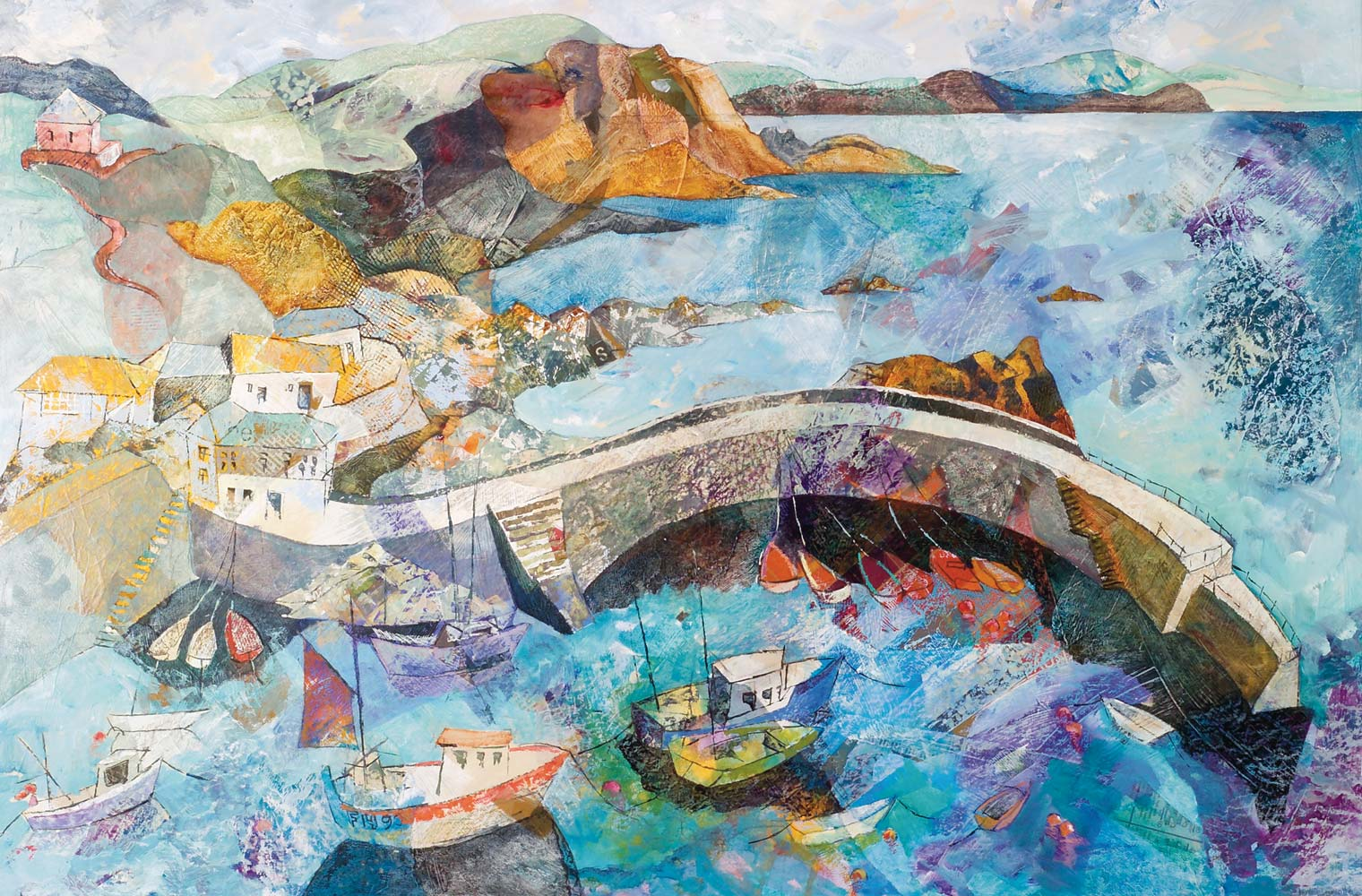 Colourful boats at Mevagissy