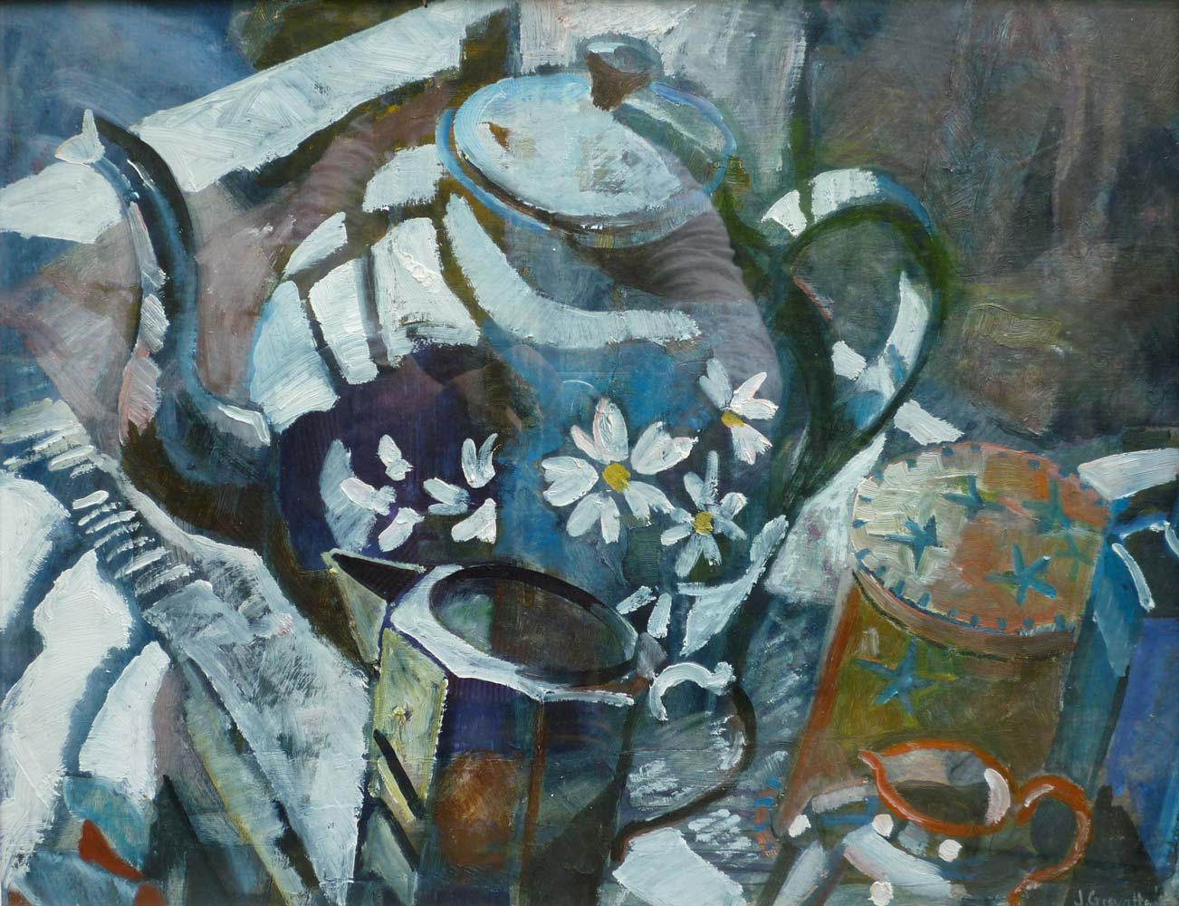 Still life with blue teapot