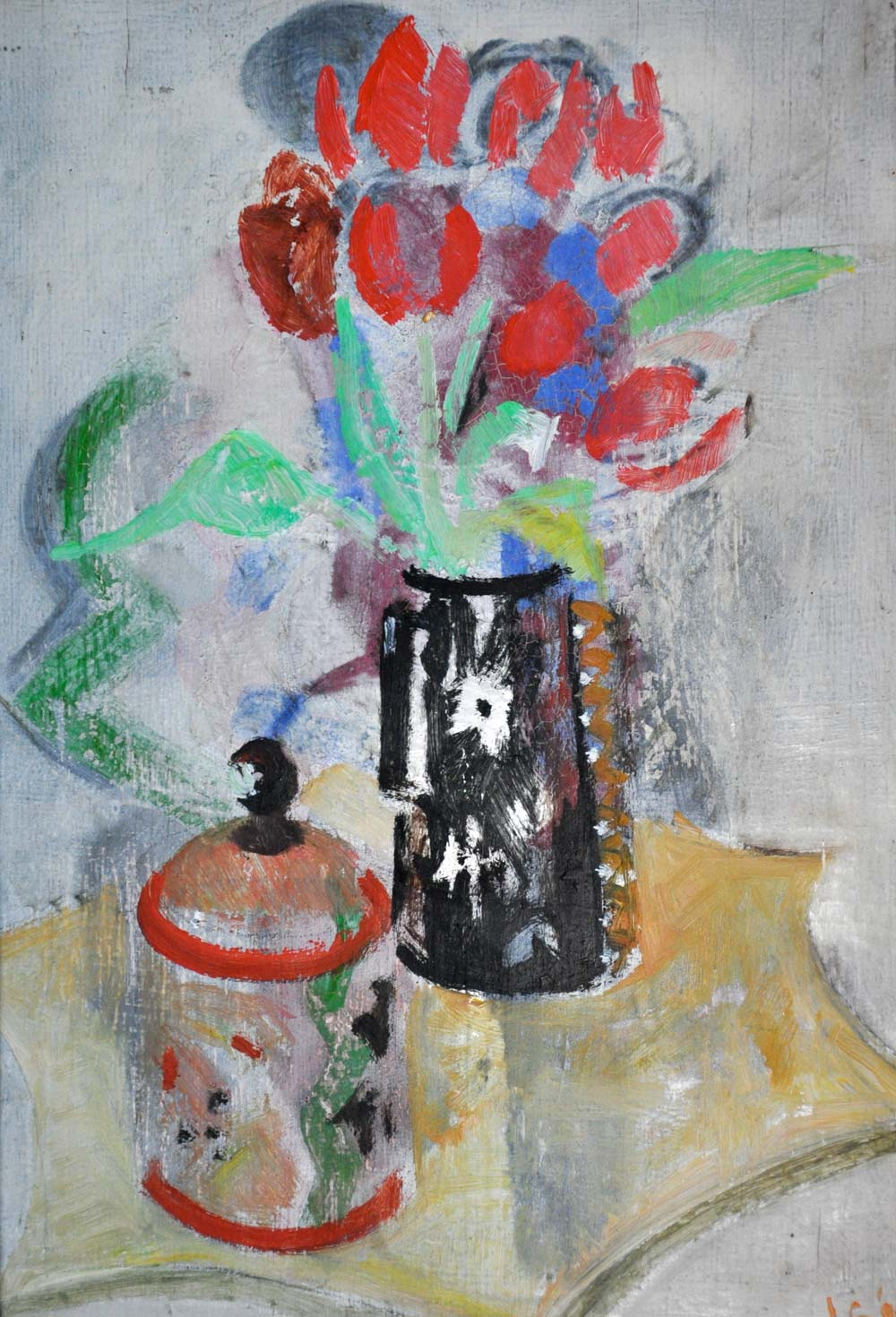 Tulips and box on a plant stand