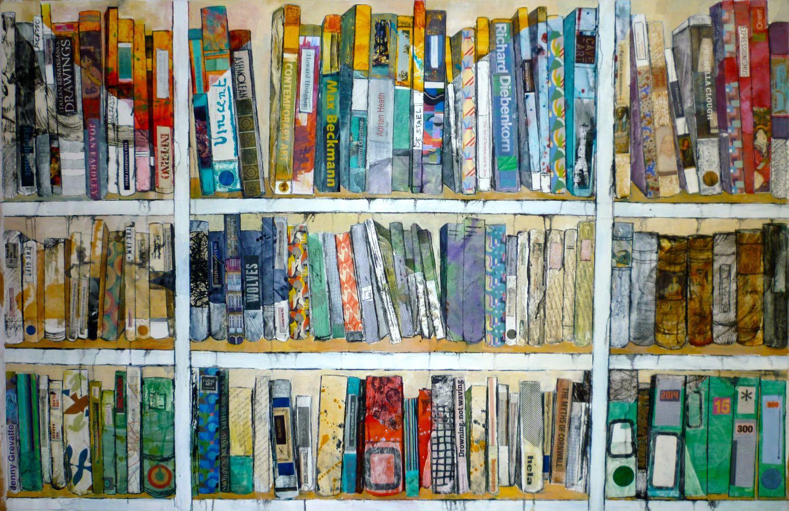 """ Imaginary bookshelves"" 92x150 cms  Mixed media £4500"