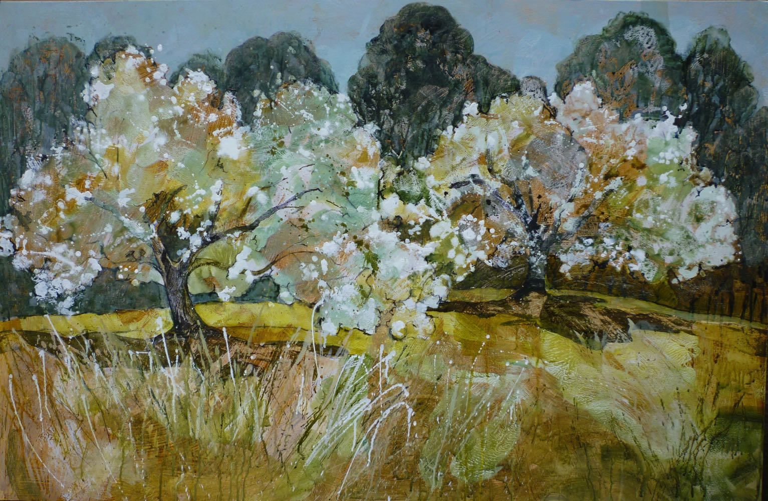 Apple blossom time   32''x48'' Mixed media SOLD