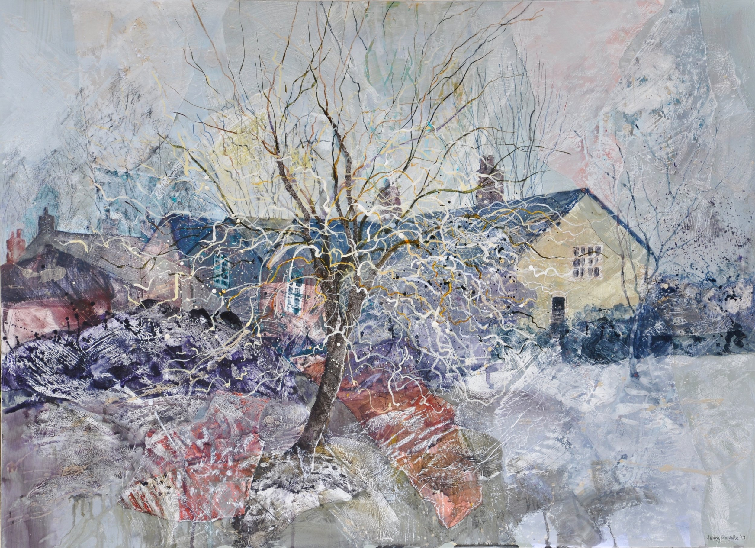 The Artist's House , February frost  26''x 36'' Mixed media