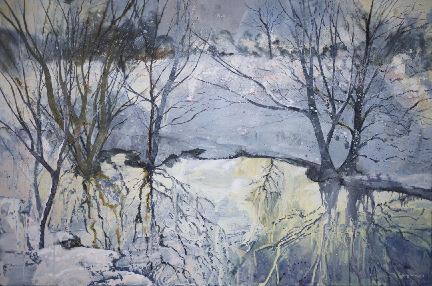 Snowy reflections by the brook