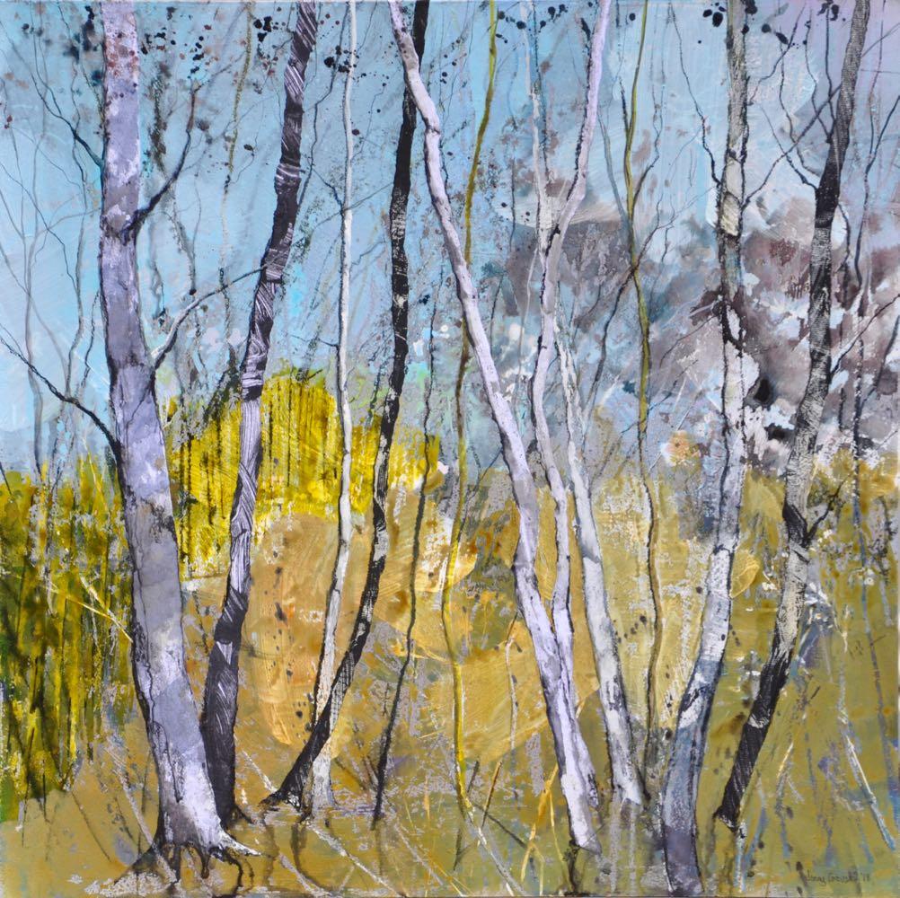 Yellow fence, Swithland Woods