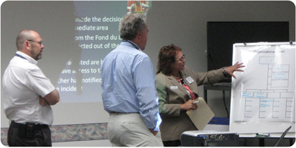 Jo Ann Wipperfurth of Pre-Emergency Planning reviews the incident command structure at a Milwaukee County Transit System Tabletop Exercise.