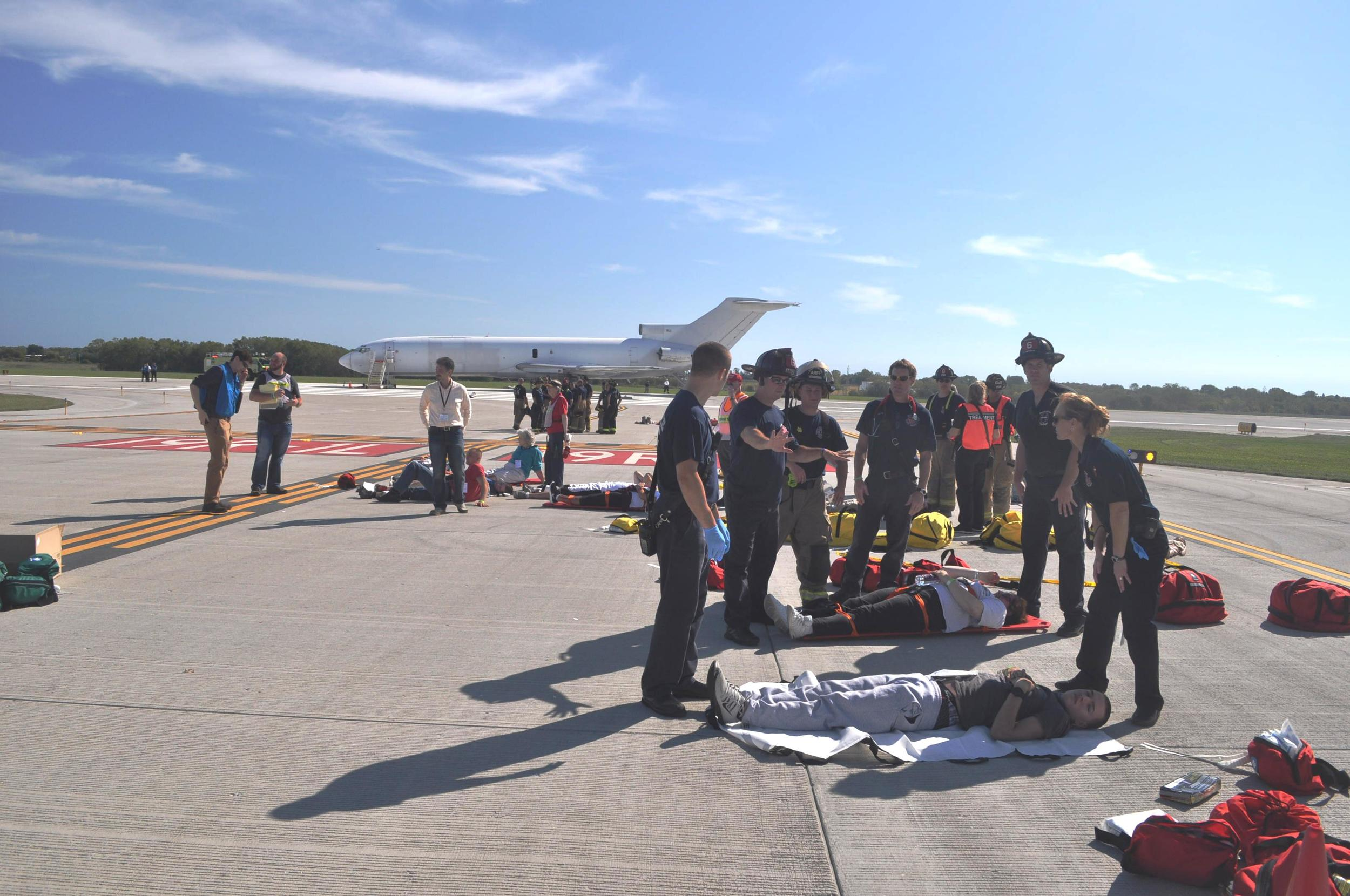 A full scale training exercise at an international airport.