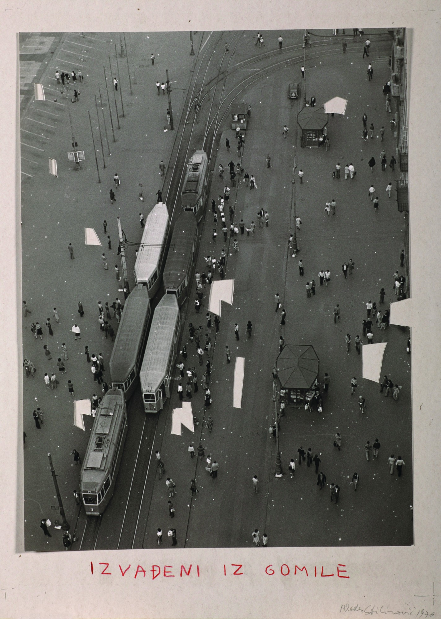 Mladen Stilinović (Group of Six Authors), Taken Out from the Crowd, 1976, bw photograph, pastel, paper, 486 x 350 mm.