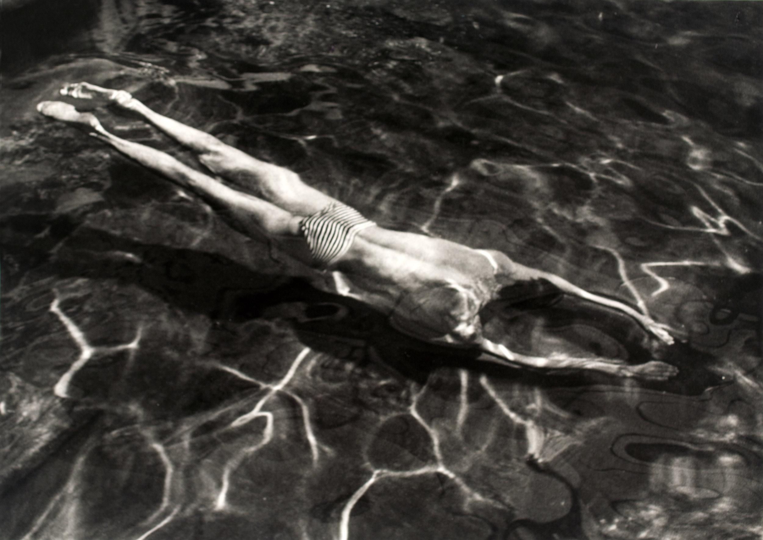 André Kertész 1894-1985, Underwater Swimmer, Esztergom, Hungary, 30 June ,1917,Photograph, gelatin silver print on paper,32 x 45 mm,The Sir Elton John Photography Collection,© Estate of André Kertész/Higher Pictures.