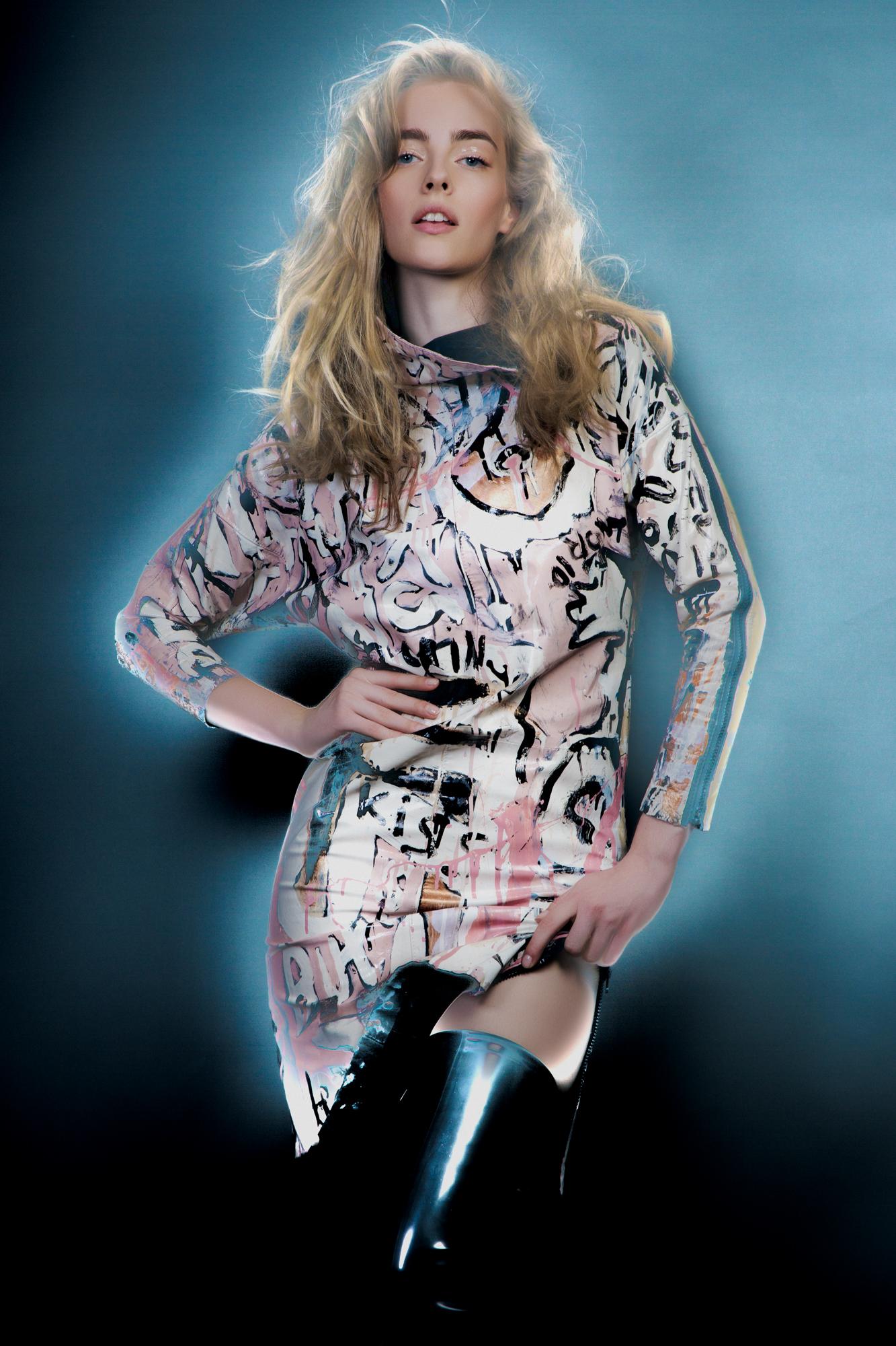Handpainted Leather Dress: Jayne Pierson,  Rubber Long Platforms: Natacha Marro