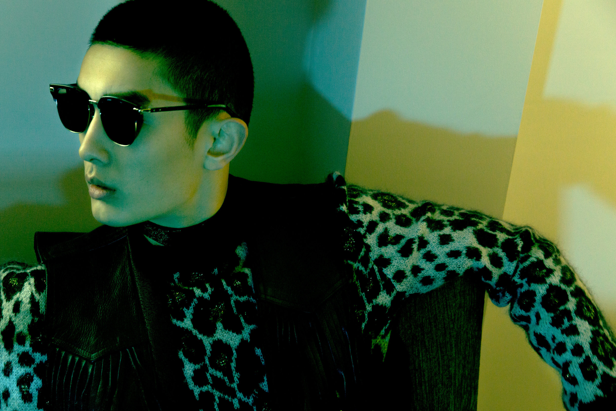 Leopard print sweater  Saint Laurent , Tie  Saint Laurent , Fringed leather waistcoat Vintage, Sunglasses  KDX .