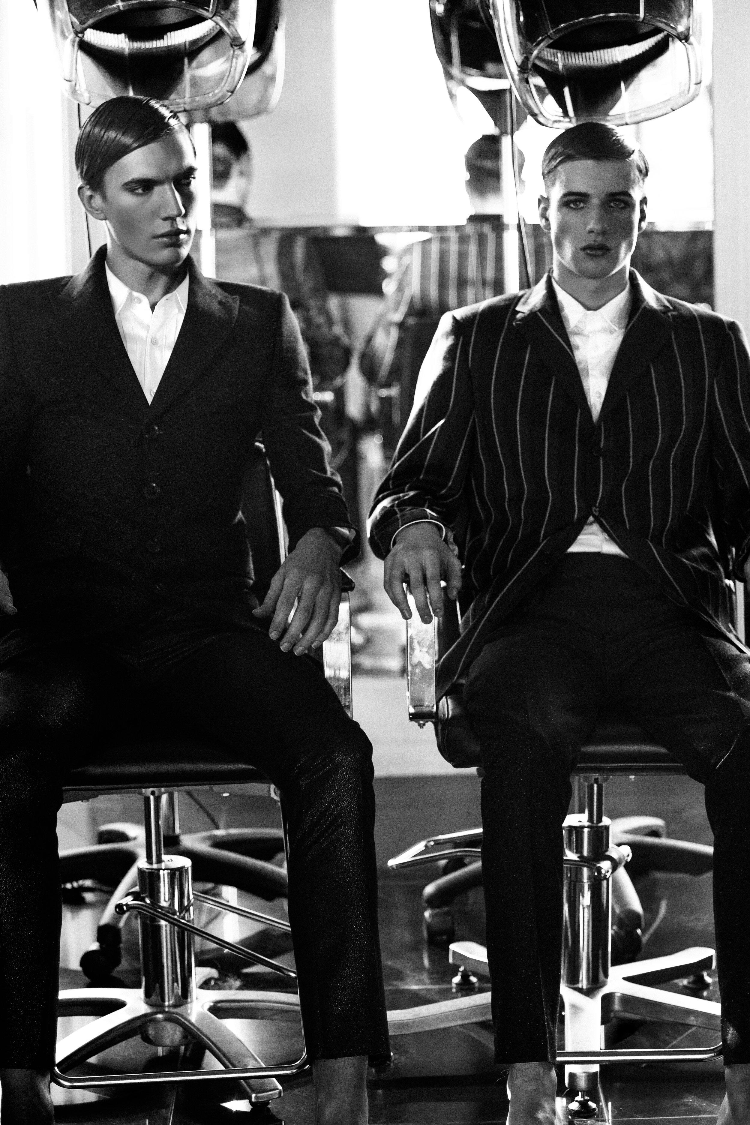 Patrick (Coat)  Joshua Kane , Alex (Blazer)  New & Lingwood , Trousers (Both models)  Joshua Kane .