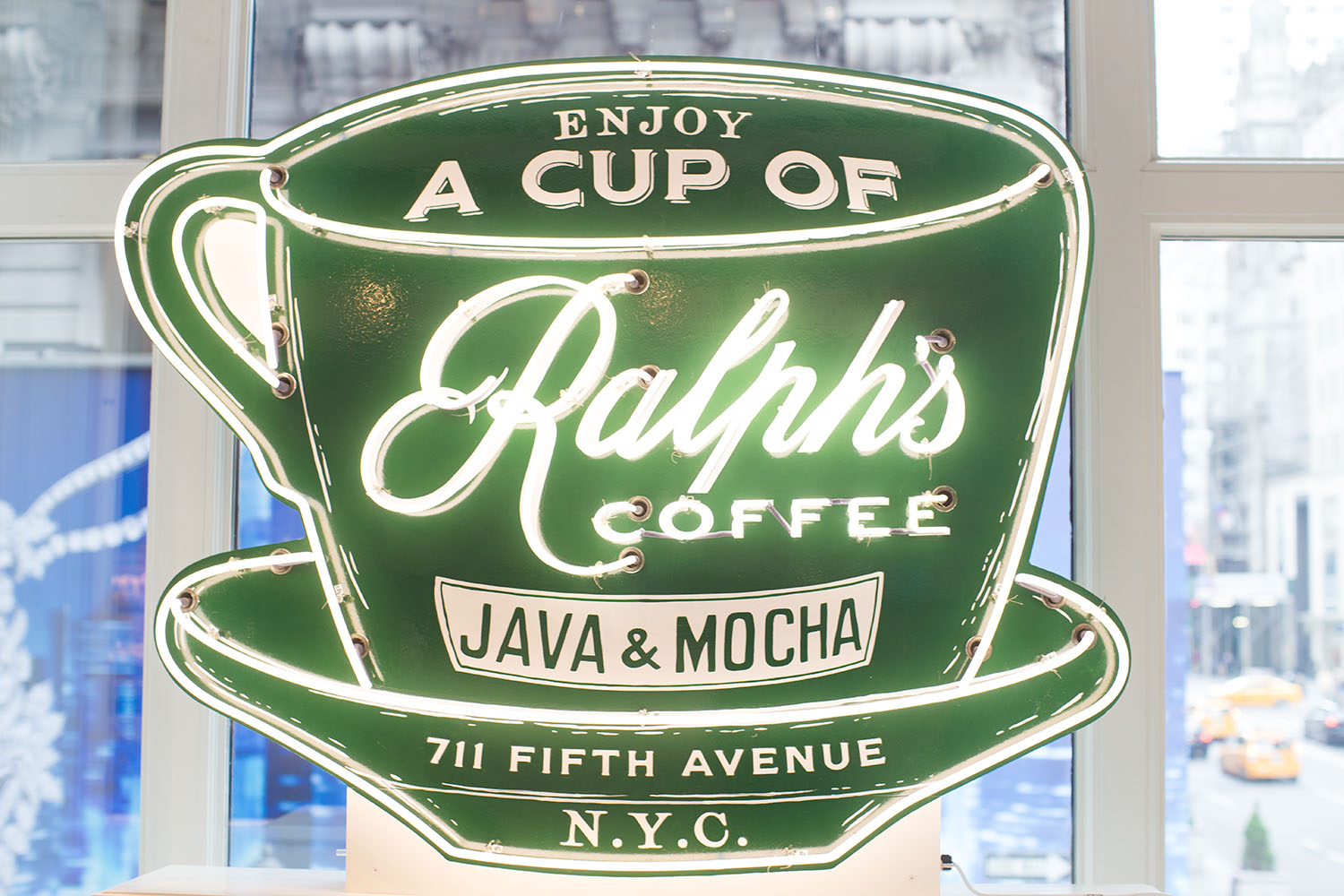 Ralph's Coffee neon on the second flood of the Ralph Lauren flagship store.