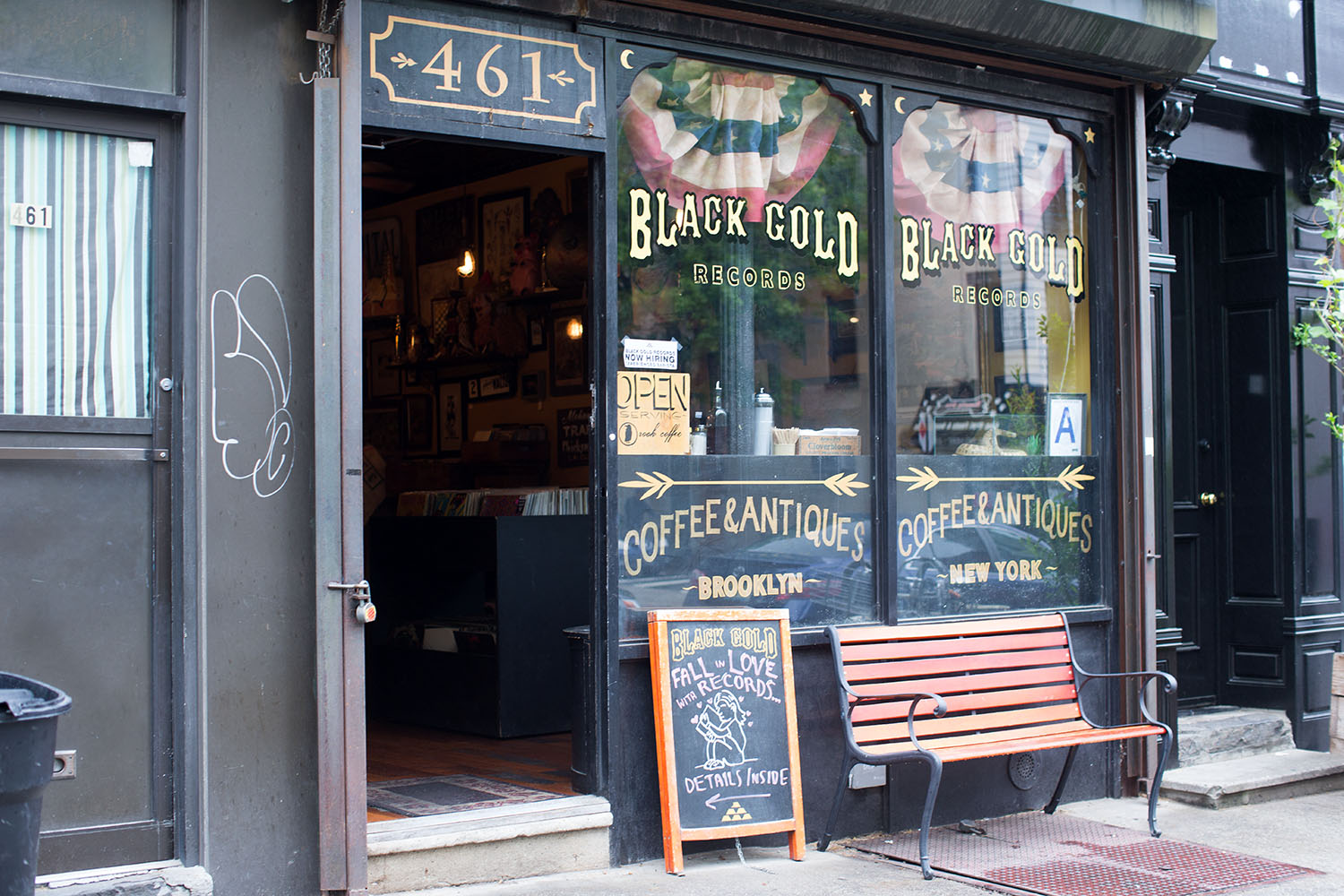 Black Gold Records  sells used records, antiques and coffee in Carrol Gardens.