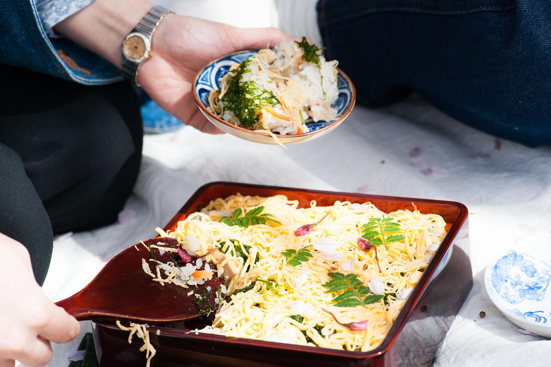 Chirashi sushi rice (see recipe below).
