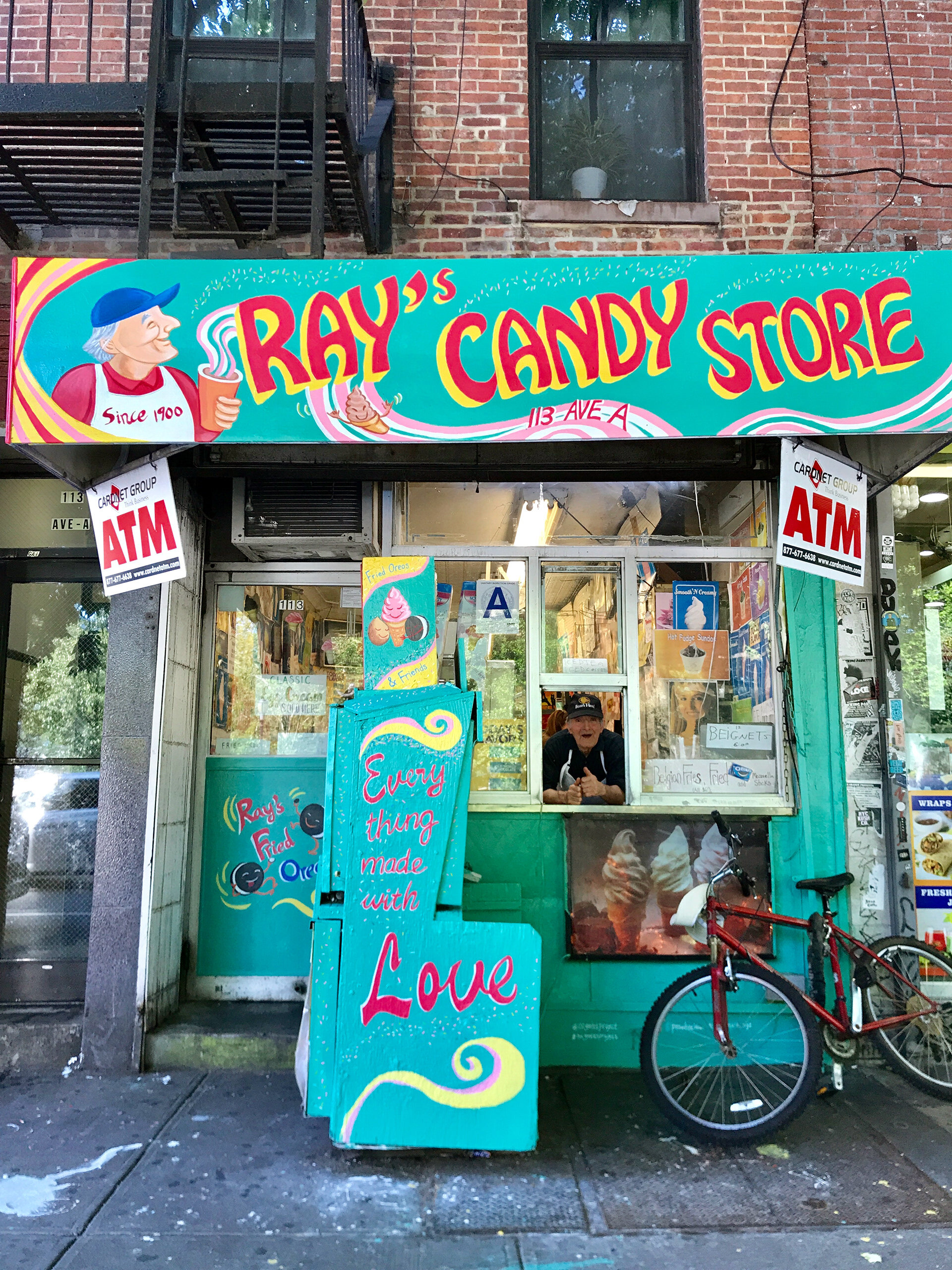 Peach Tao's mural on the front of Ray's Candy Store.