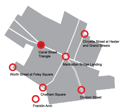The seven gateway locations presented to us by the NYC DOT.
