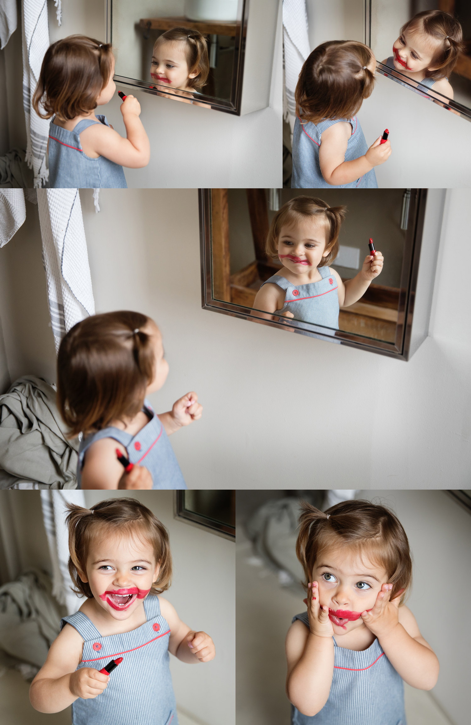 Toddler girl with messy lipstick face by commercial kids photographer Lisa Tichane