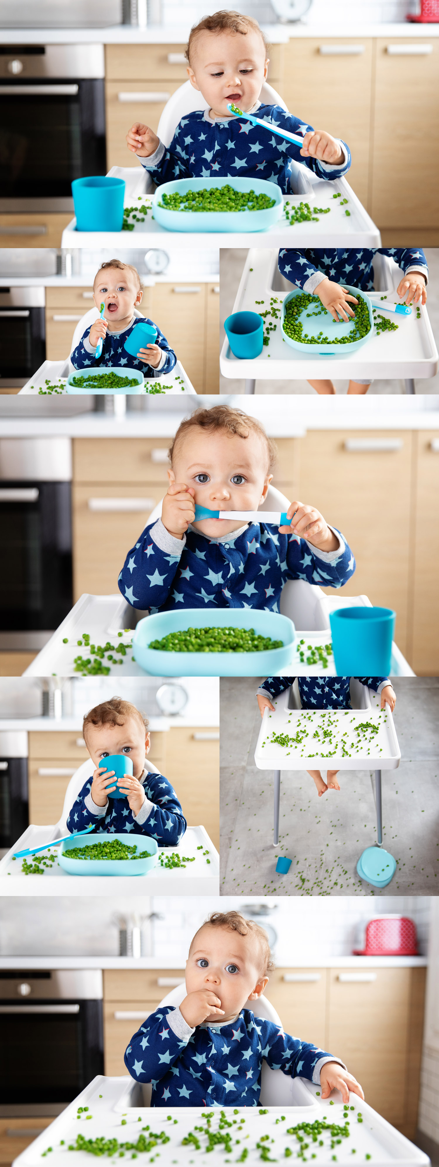 Baby in high chair eating green peas by commercial baby photographer Lisa Tichane