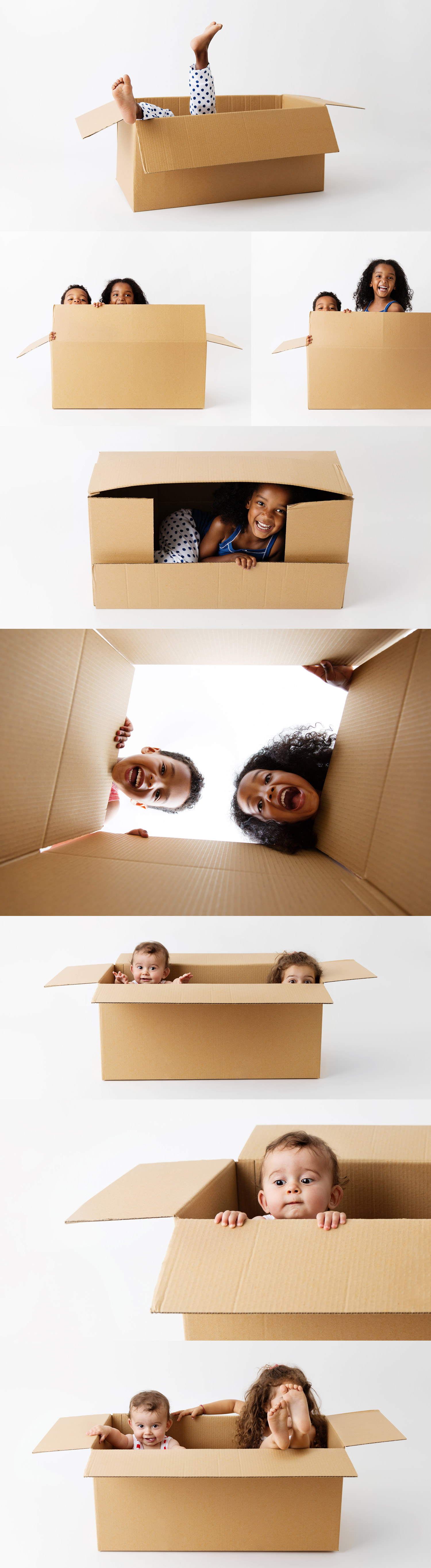 Children and babies having fun with cardboard boxes by commercial kids photographer Lisa Tichane