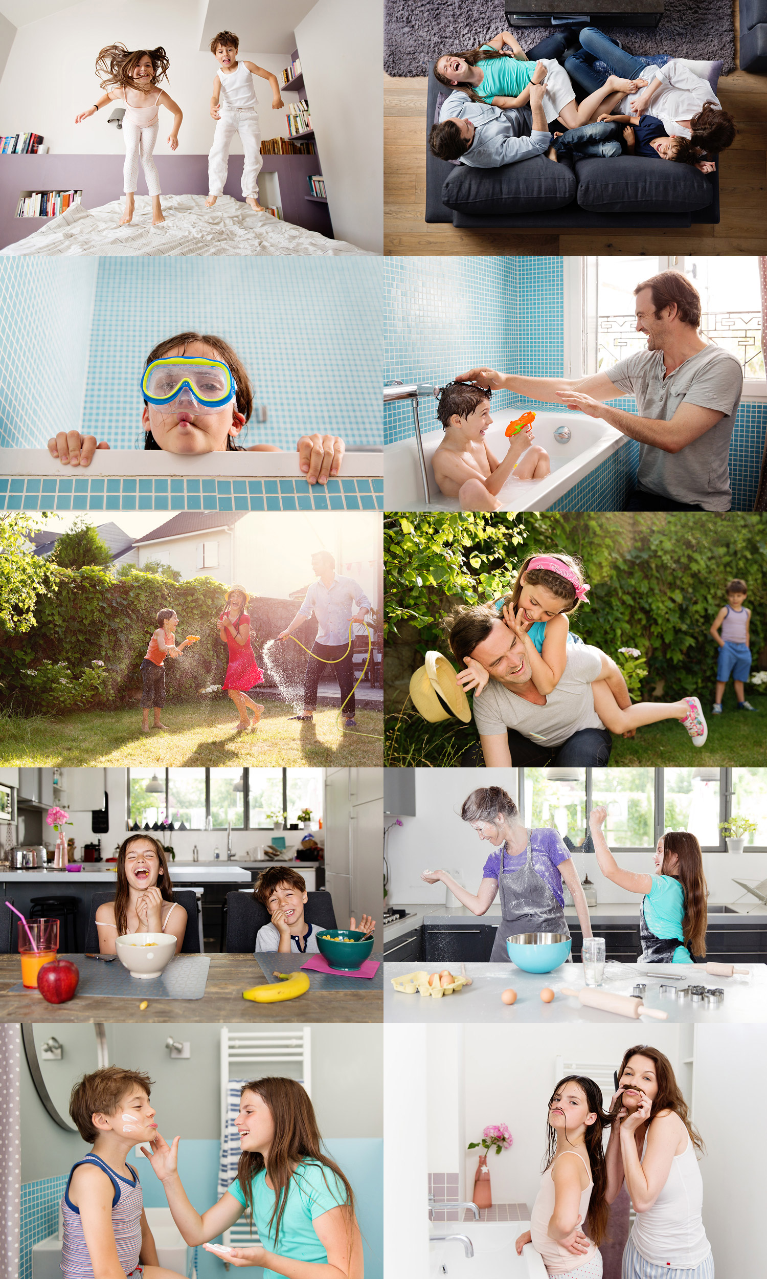 Happy family having fun at home by advertising kids photographer Lisa Tichane