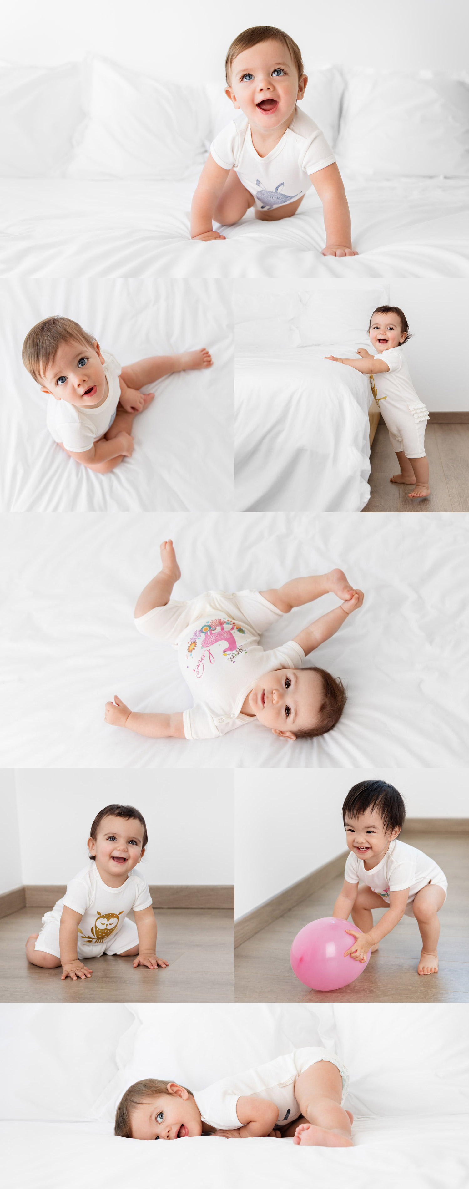 Cute babies wearing onesies by baby fashion photographer Lisa Tichane