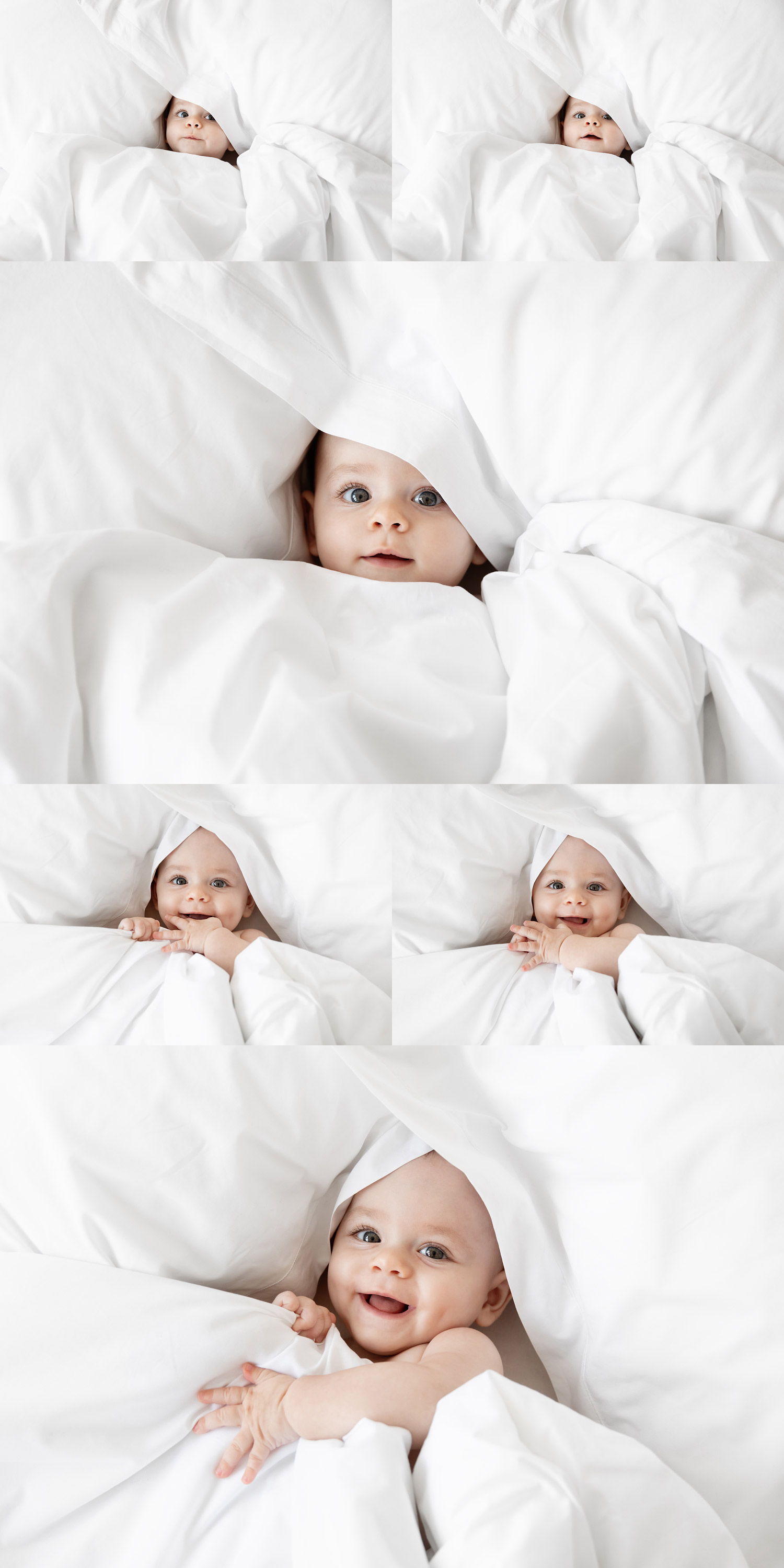 Cute baby peeking in white bedsheets by commercial baby photographer Lisa Tichane