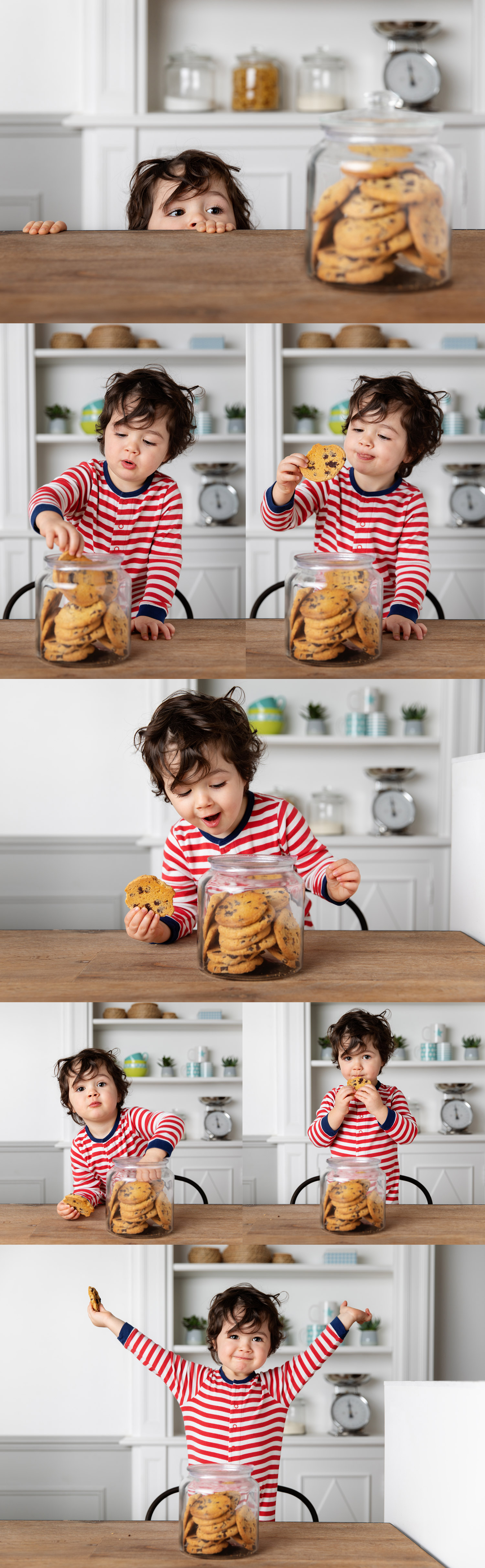Cute toddler stealing cookies from cookie jar by Lisa Tichané, advertising kids photographer