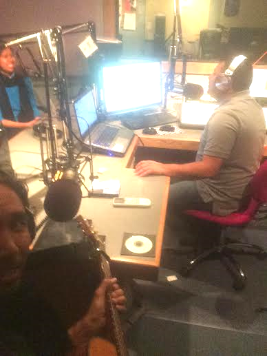 Selfie of me performing at a live radio interview last Monday night. I'm the dark guy in the bottom left:)
