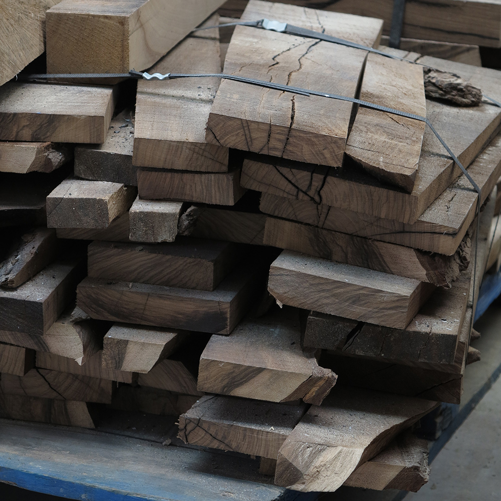 British Walnut showing some of the common 'defects' that would cause it to be wasted.