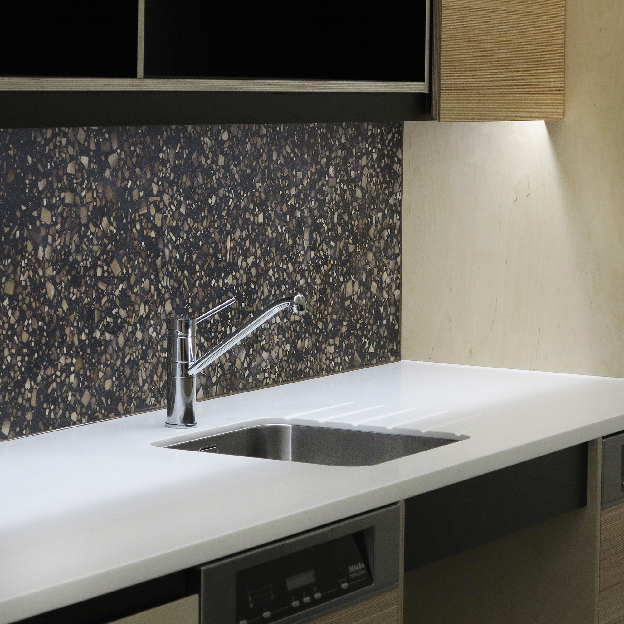 Backsplash in a communal office space.