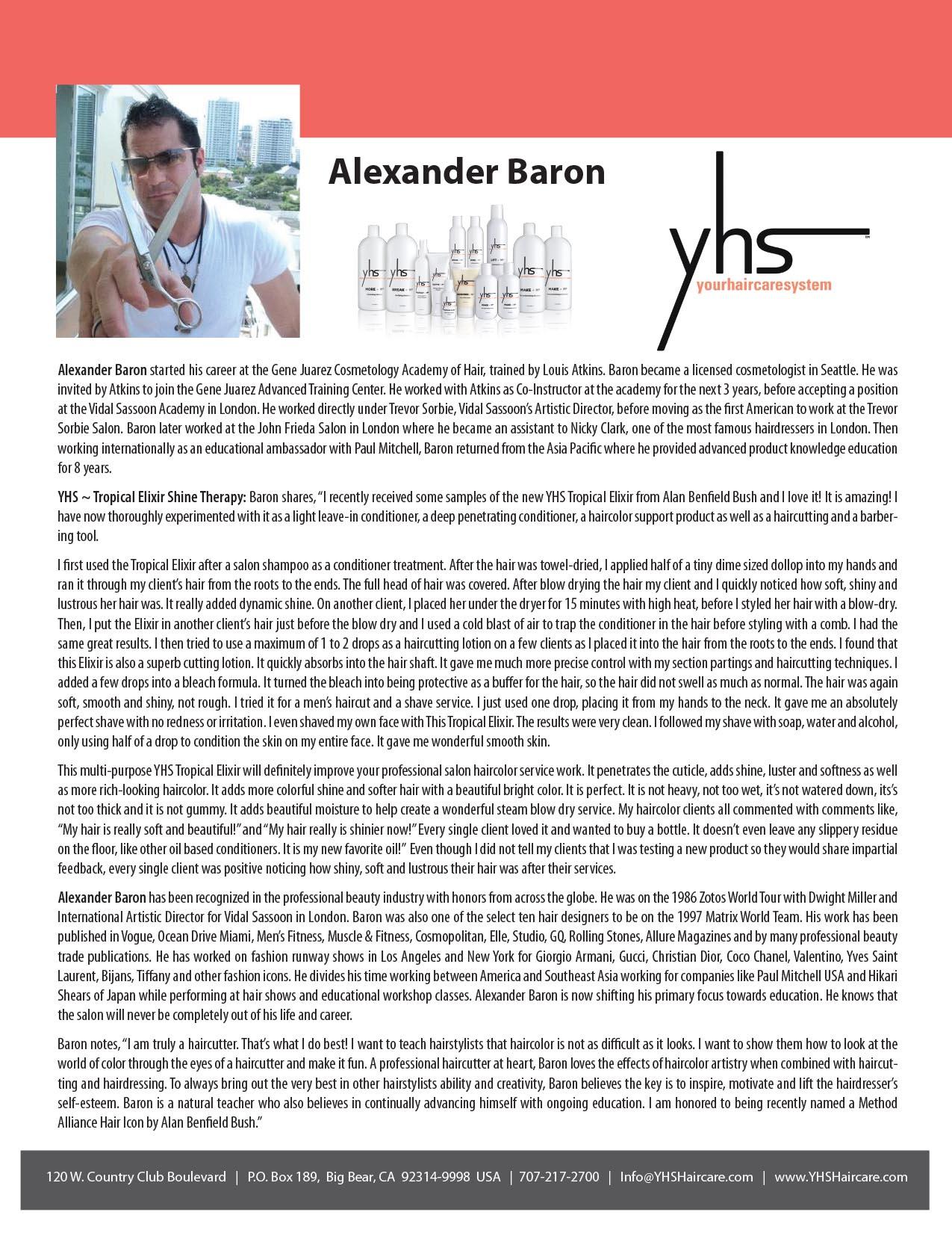 Alexander Baron Testimonial – YHS Haircare